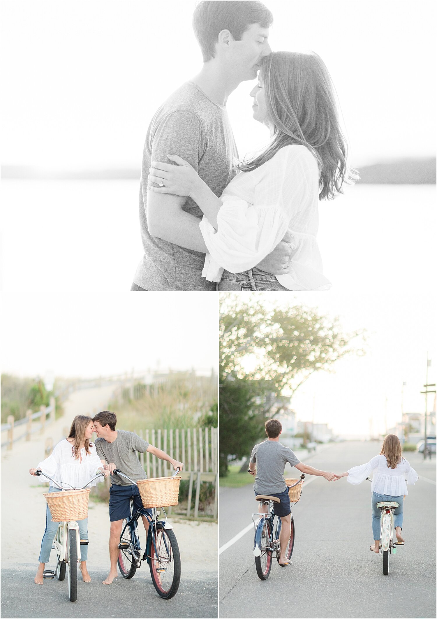 LBI engagement photos with a bike