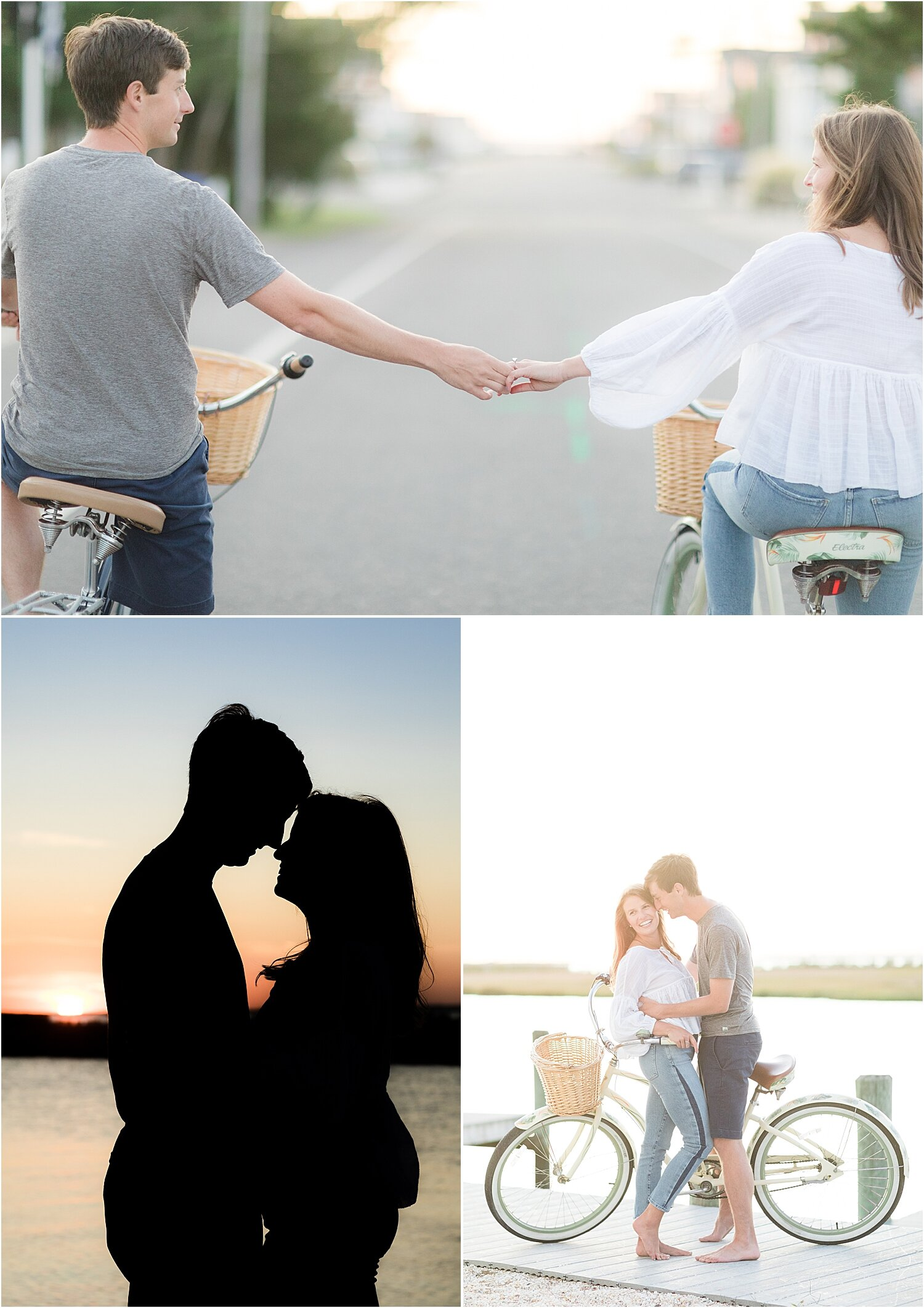 engagement photos in LBI with a bicycle