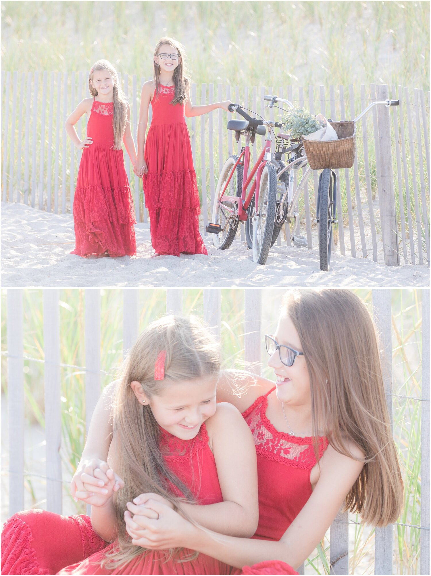 Holiday photos in red dresses on the beach in Seaside Park.