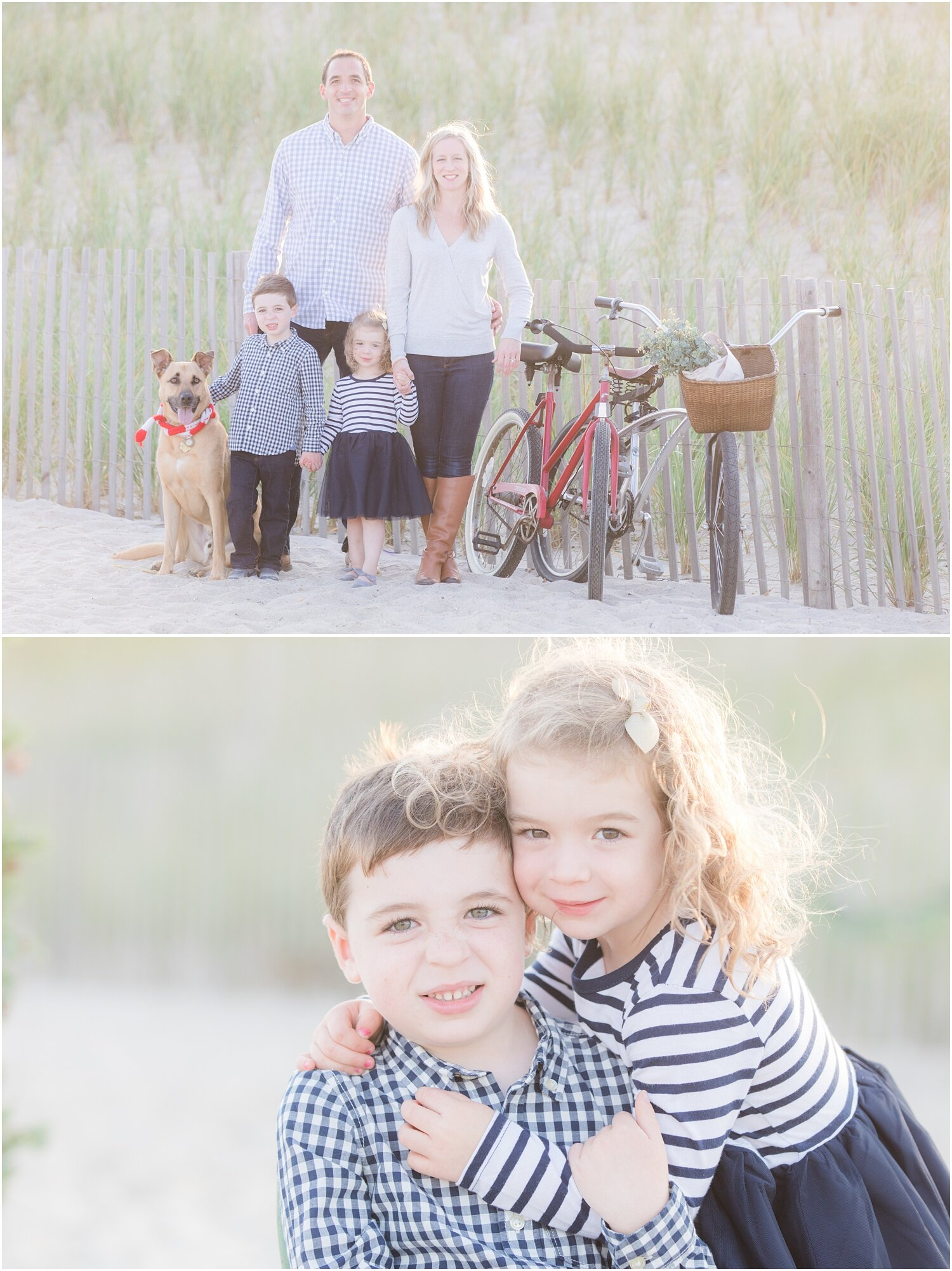 Christmas photos with family dog on the beach in Seaside Park.