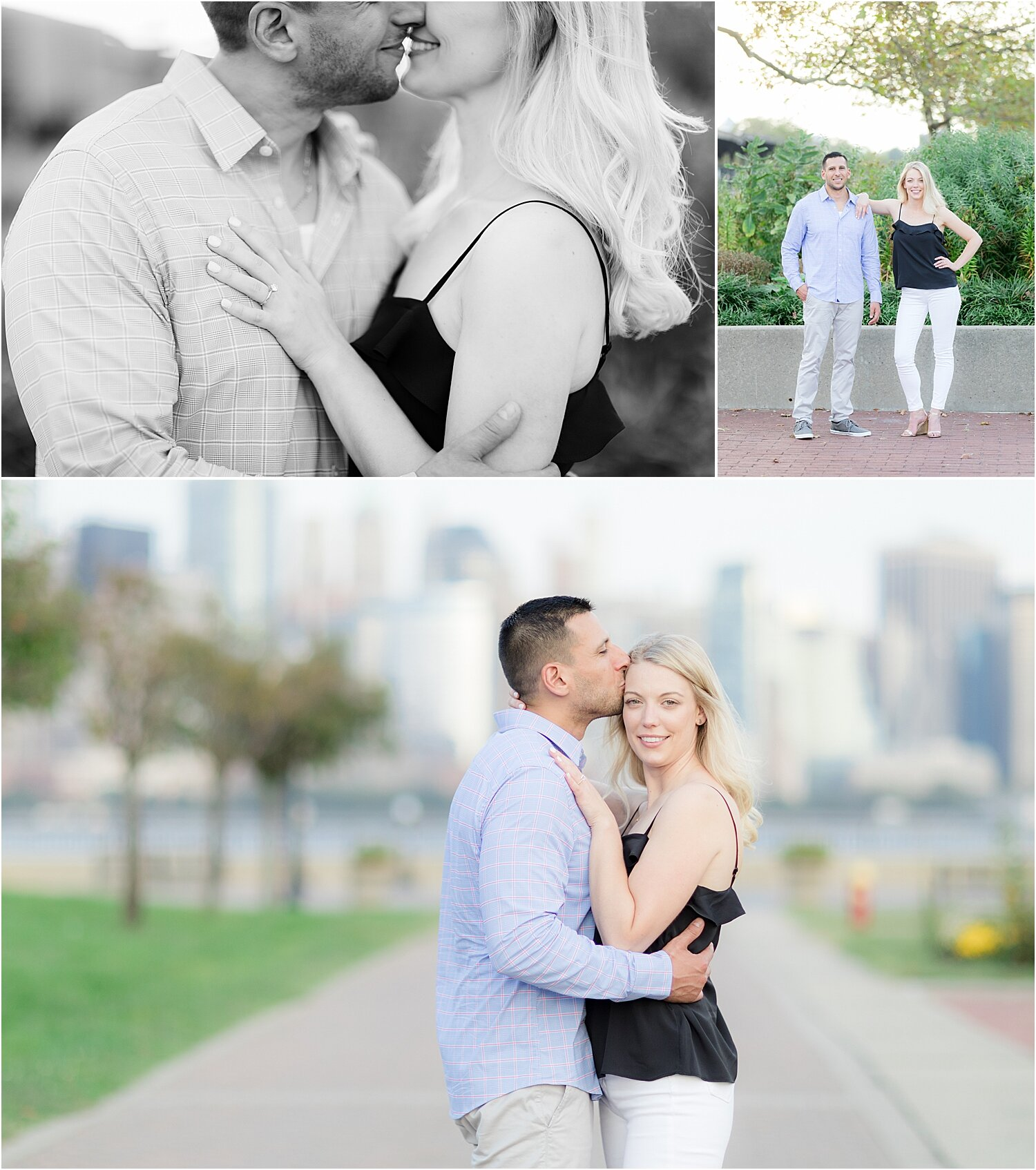 couples takes engagement photos at Liberty State Park