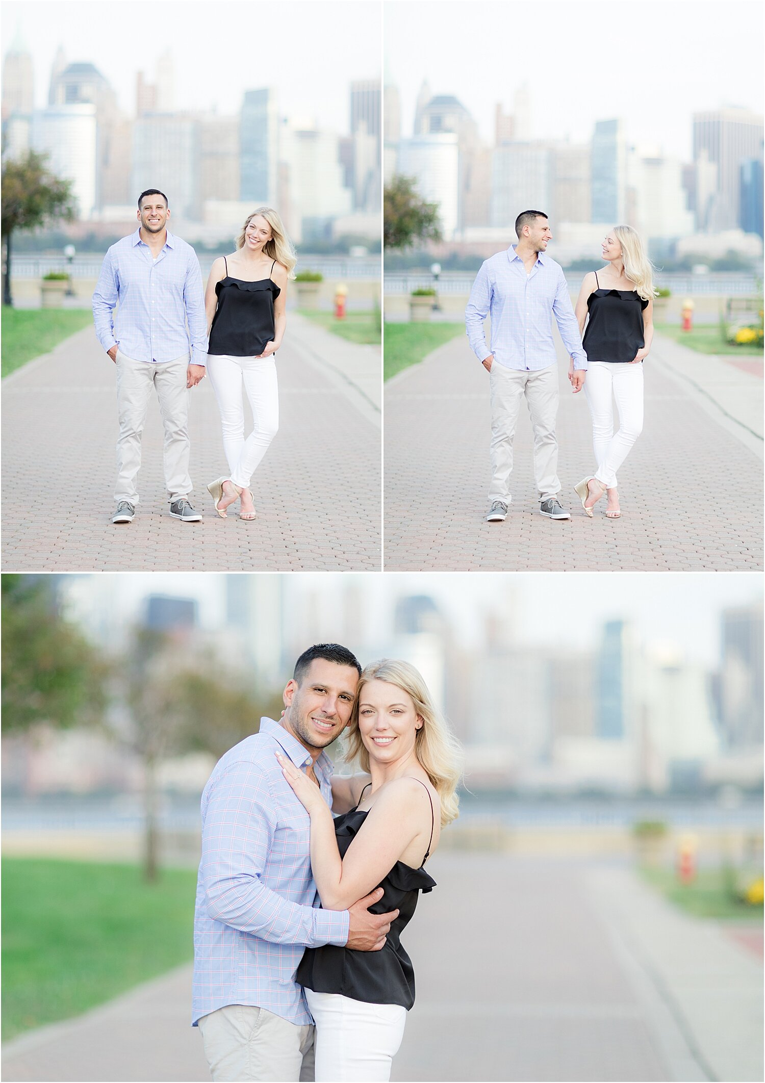 engagement photos with the NYC skyline