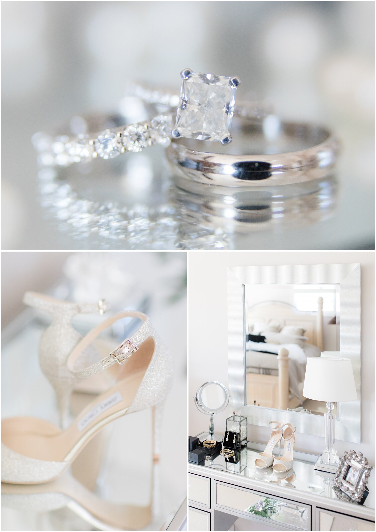 Brides shoes and vanity on her wedding day.