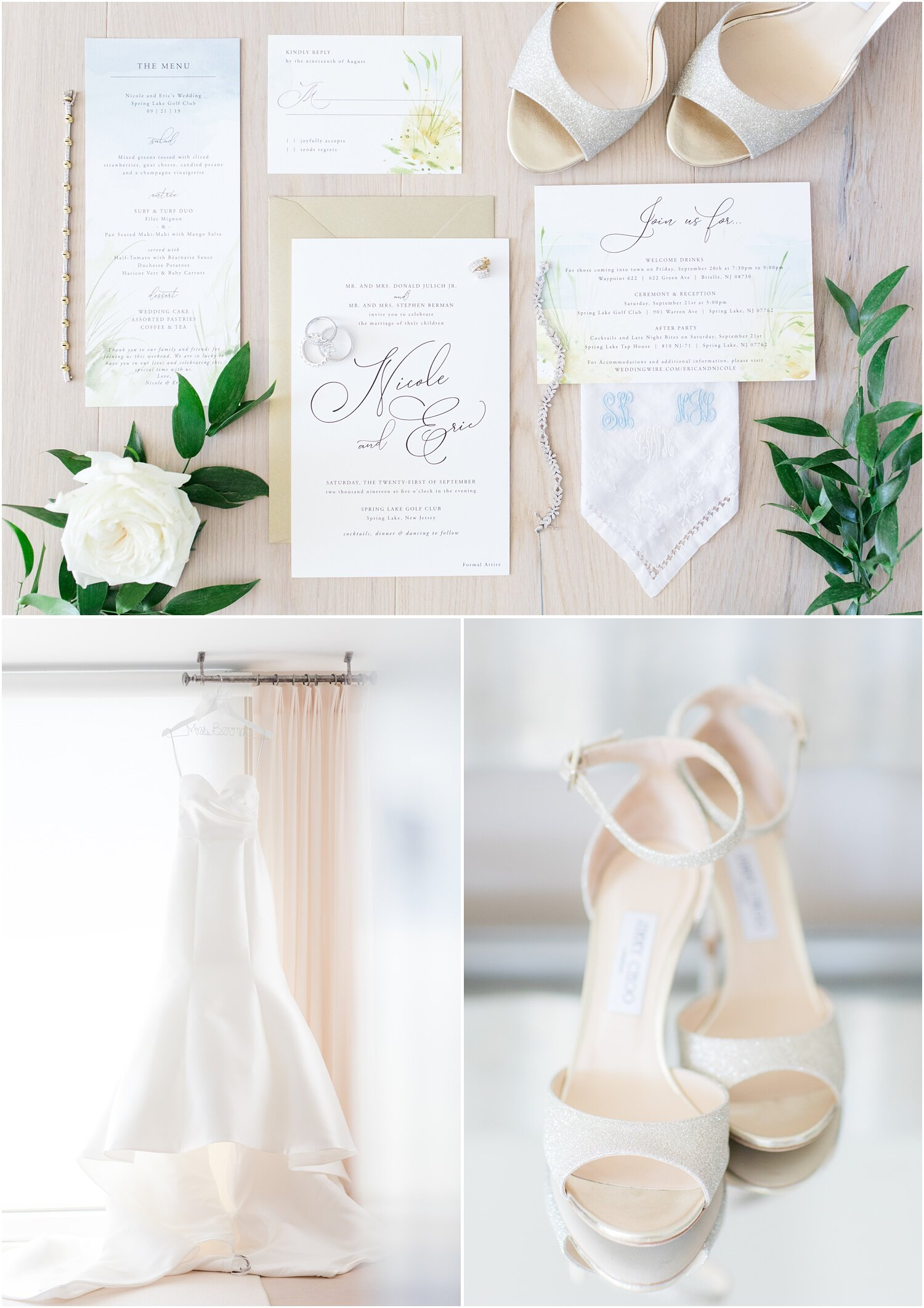 Simple classic wedding invitations with shoes, rings, Monique Lhuillier wedding dress, Jimmy Choo shoes and loose flowers.