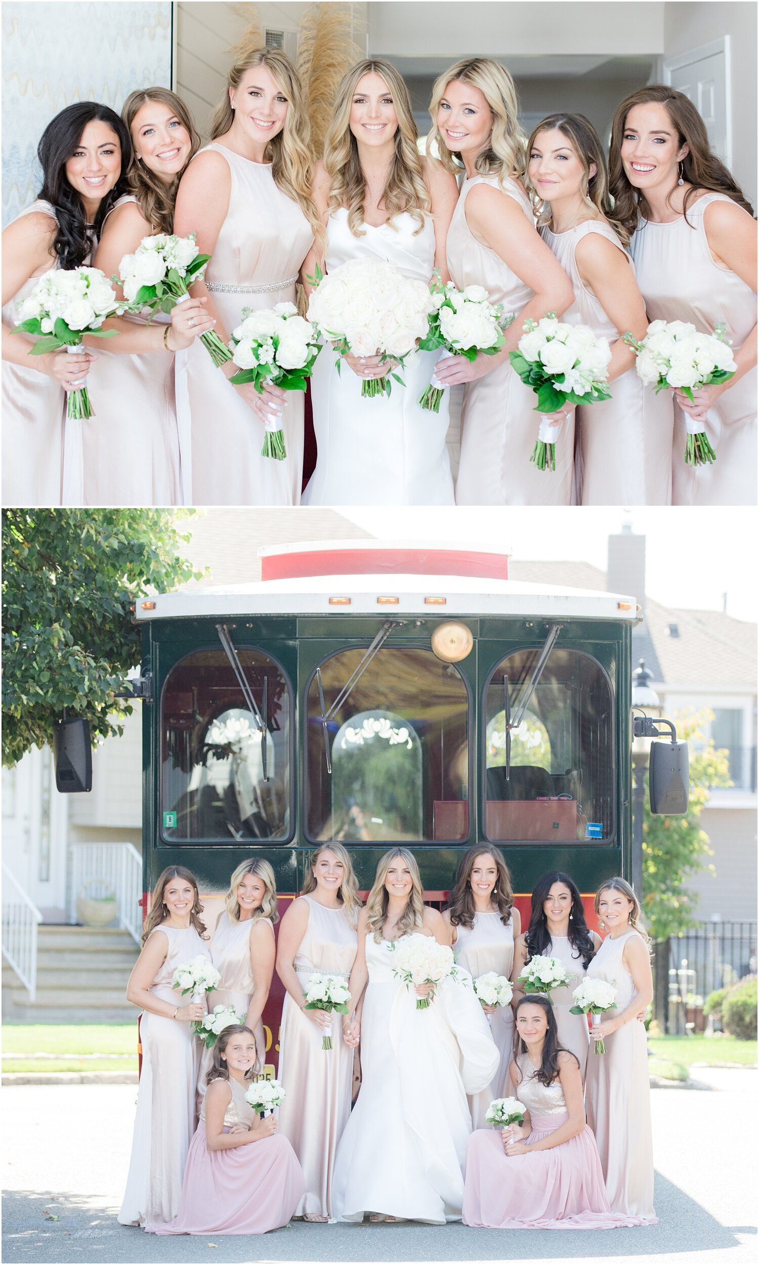 Bridesmaids with trolley.