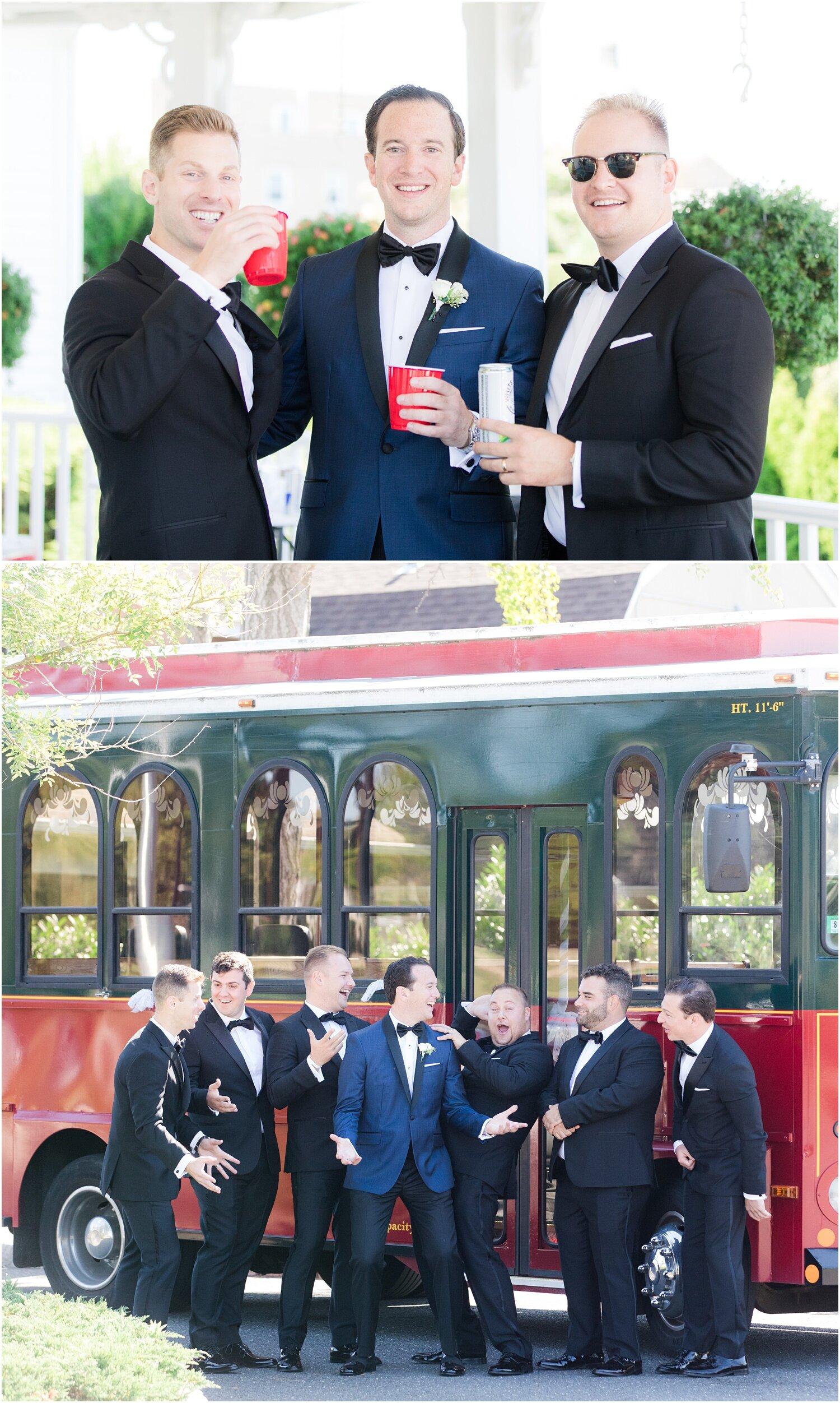 Groomsmen having fun with the trolley