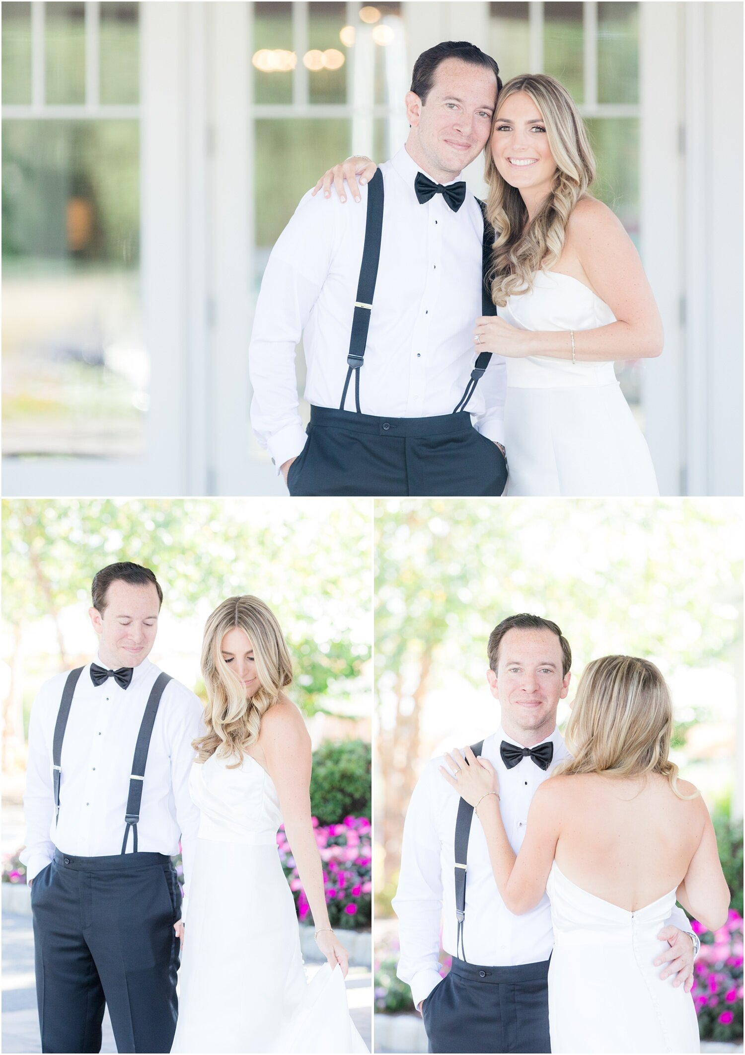 Bride and groom portraits at Spring Lake Golf Club.