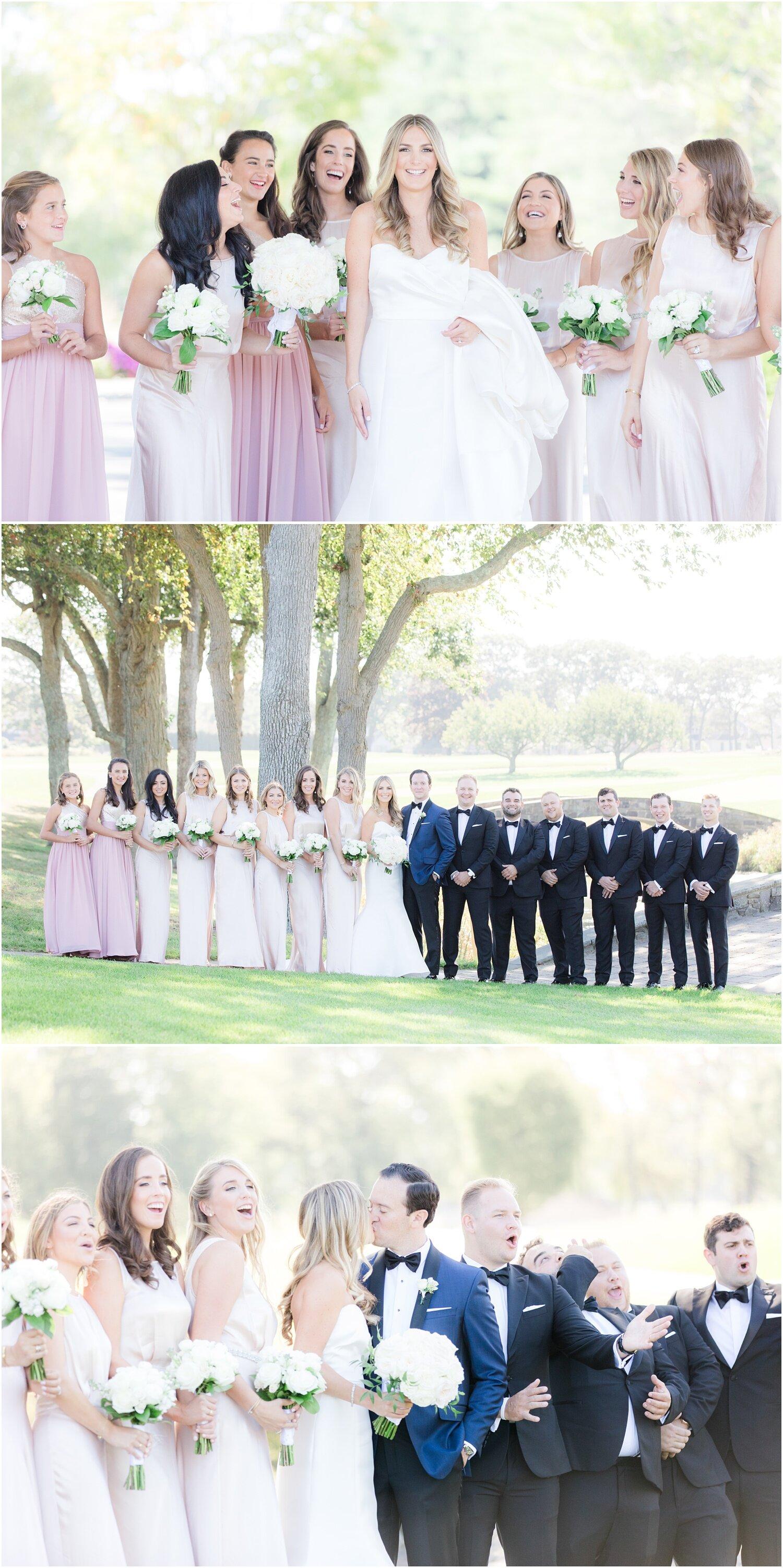 Fun Bridal party photos on the golf course at Spring Lake Golf Club