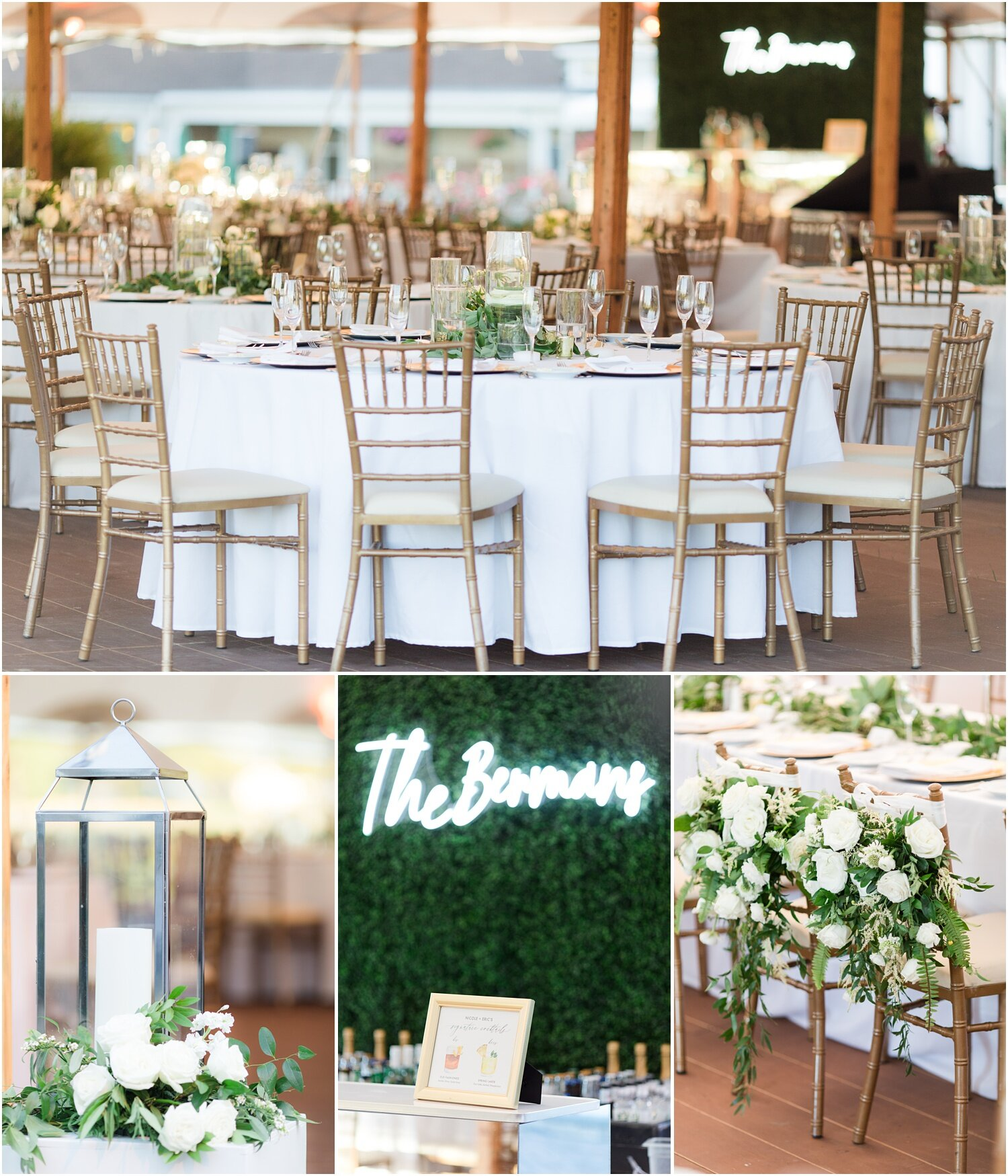Wedding reception tables and decor.