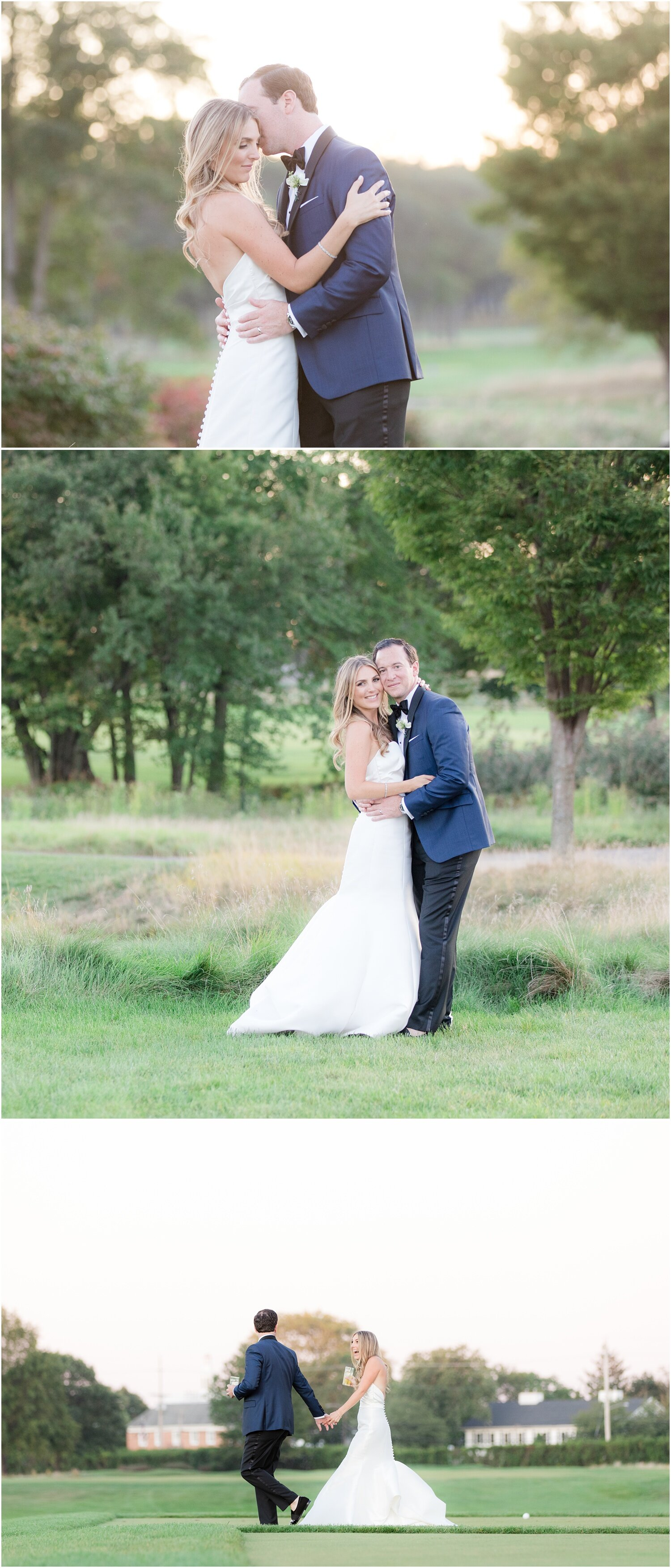 just married portraits of bride and groom during sunset at Spring Lake Golf Club.