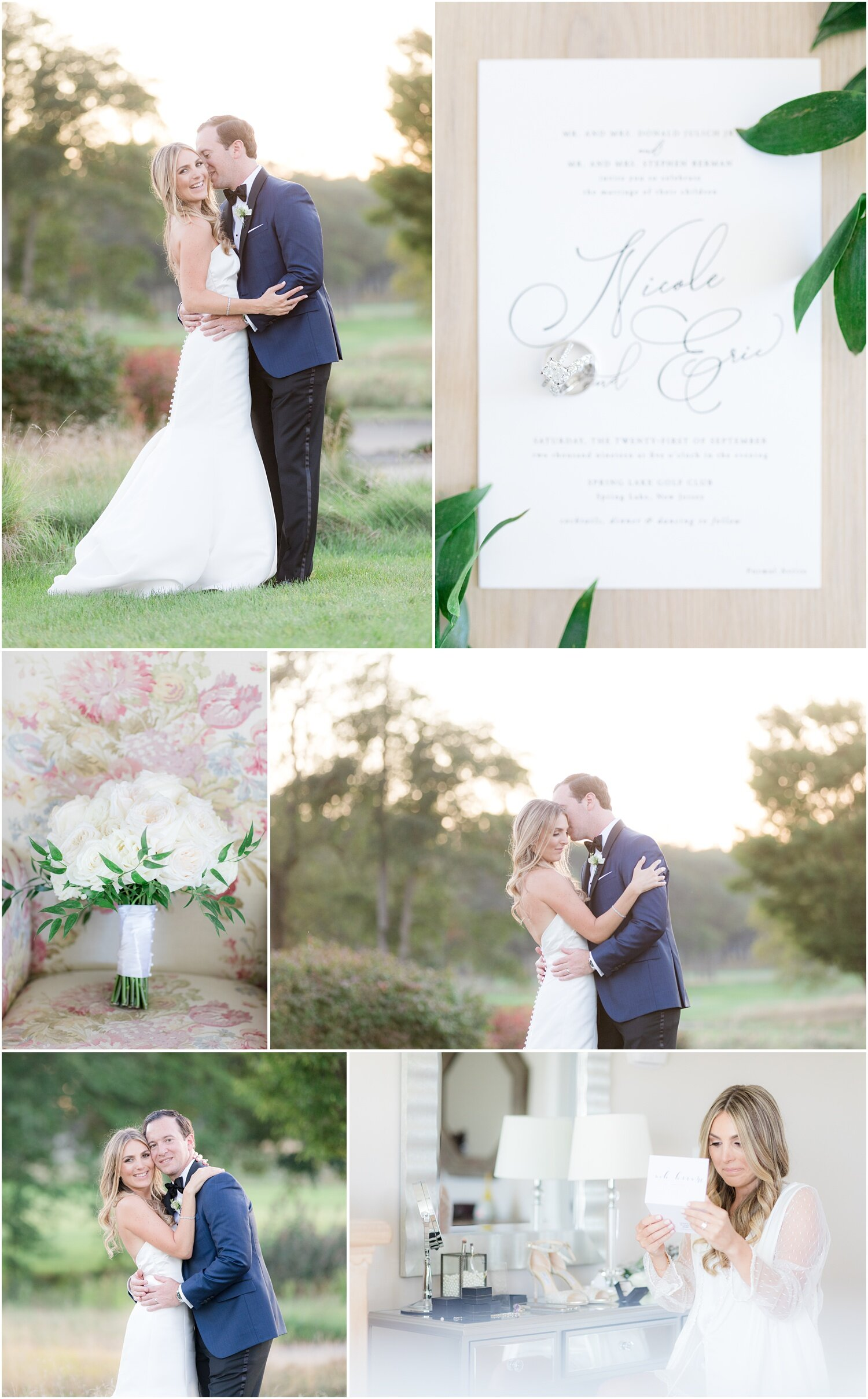 Images from a romantic wedding at Spring Lake Golf Club