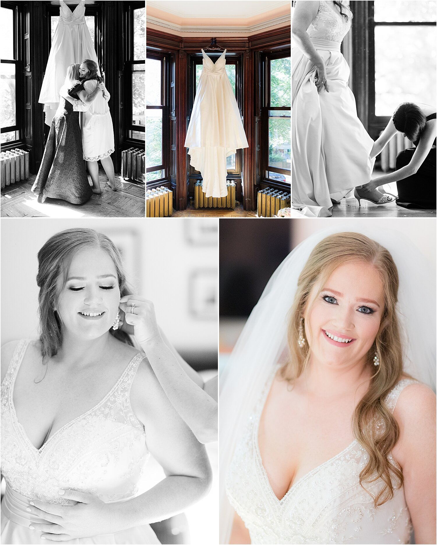 bride gets ready at their park slope brooklyn home