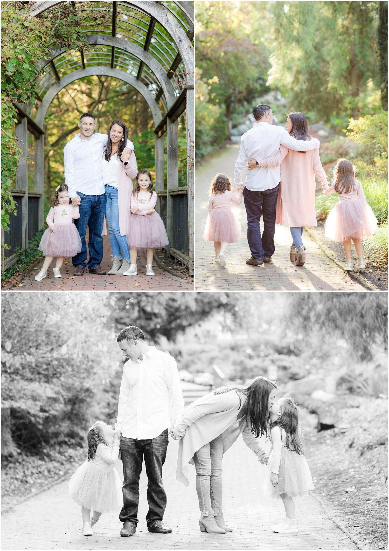 Candid family photos at Sayen Gardens.