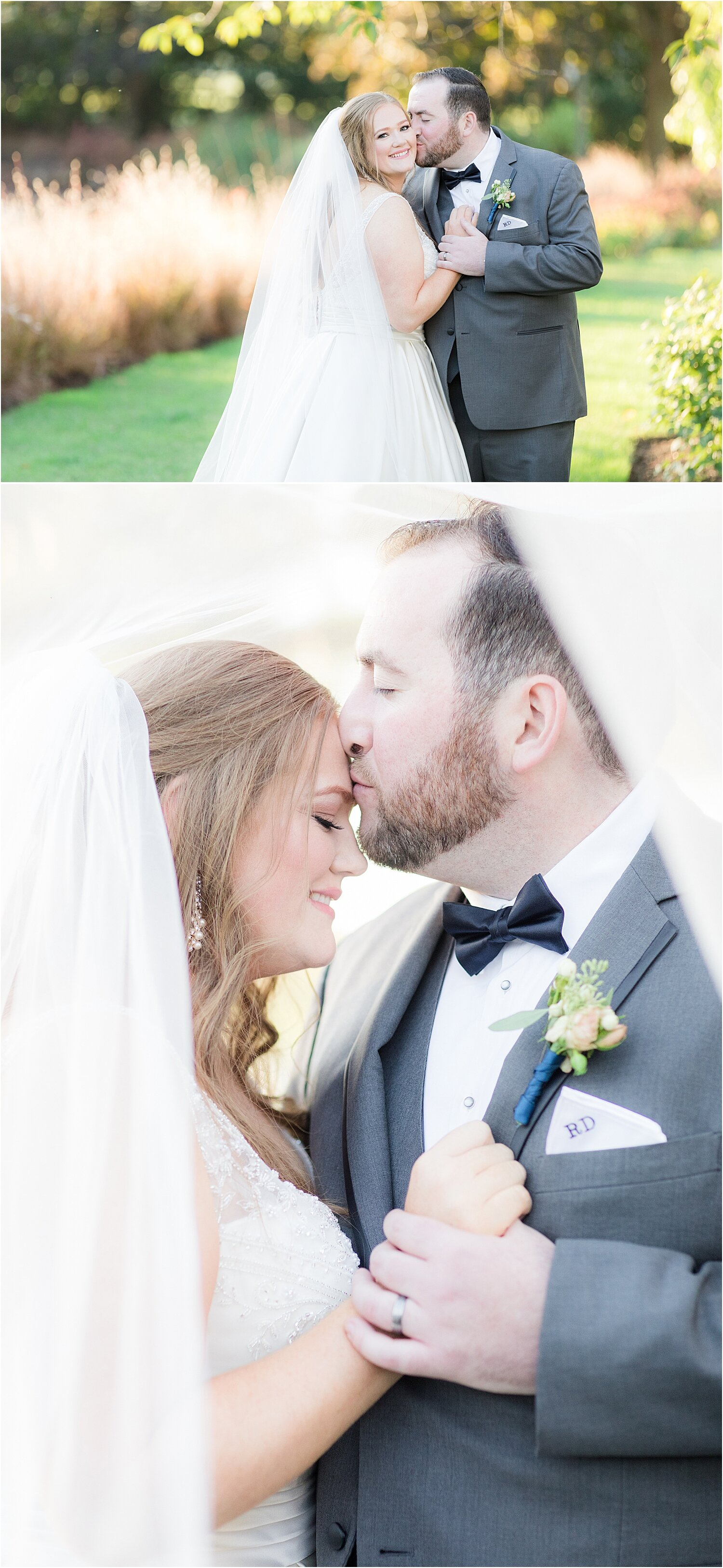 bride and groom under veil at park chateau