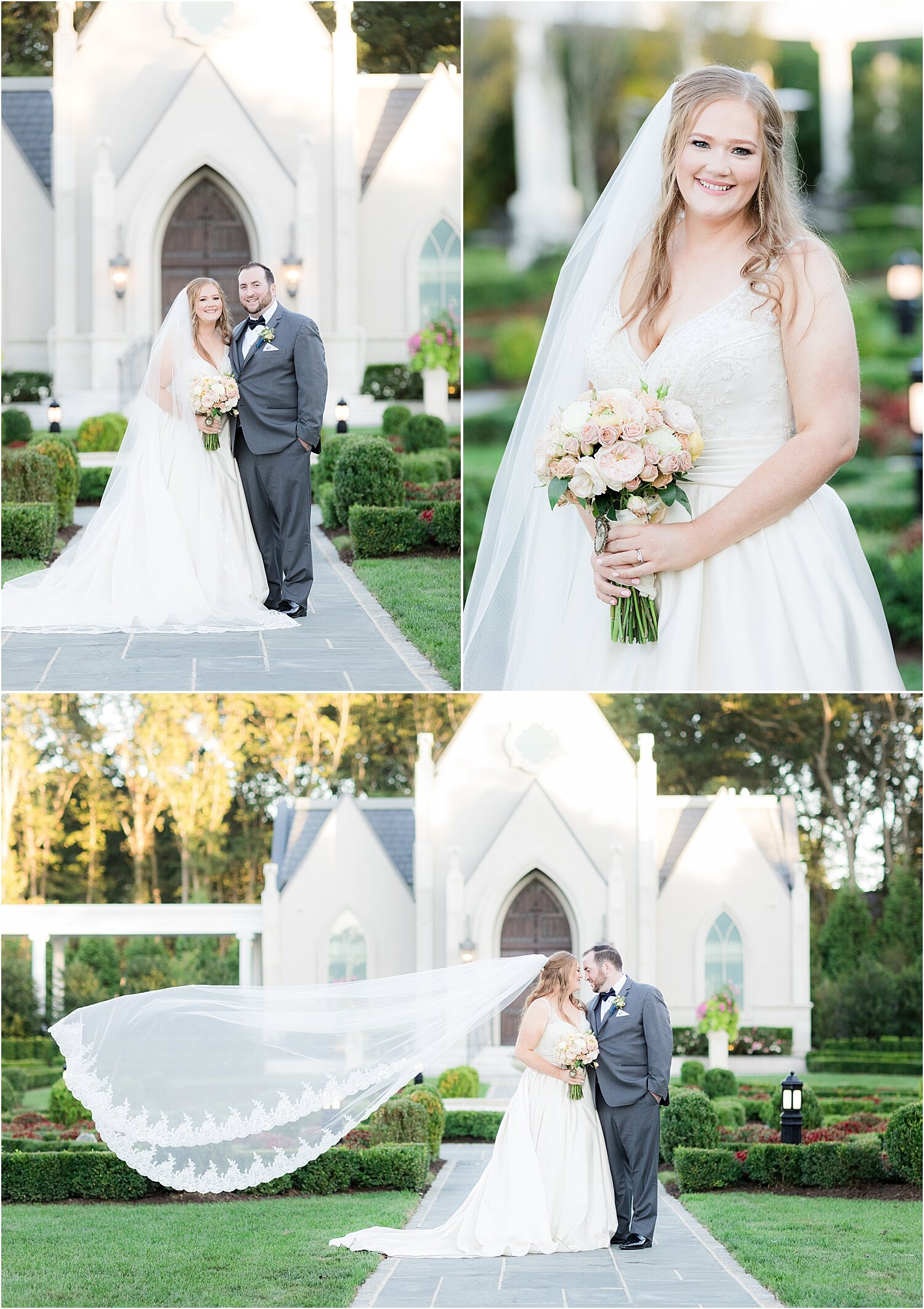 wedding photos in front of the chapel at park chateau