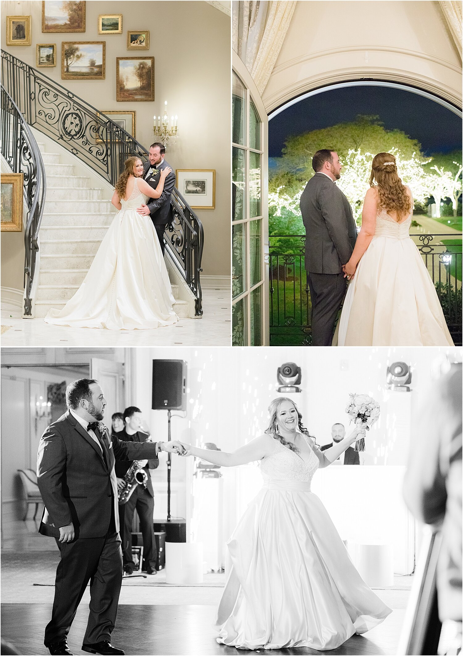 romantic photos on staircase at park chateau