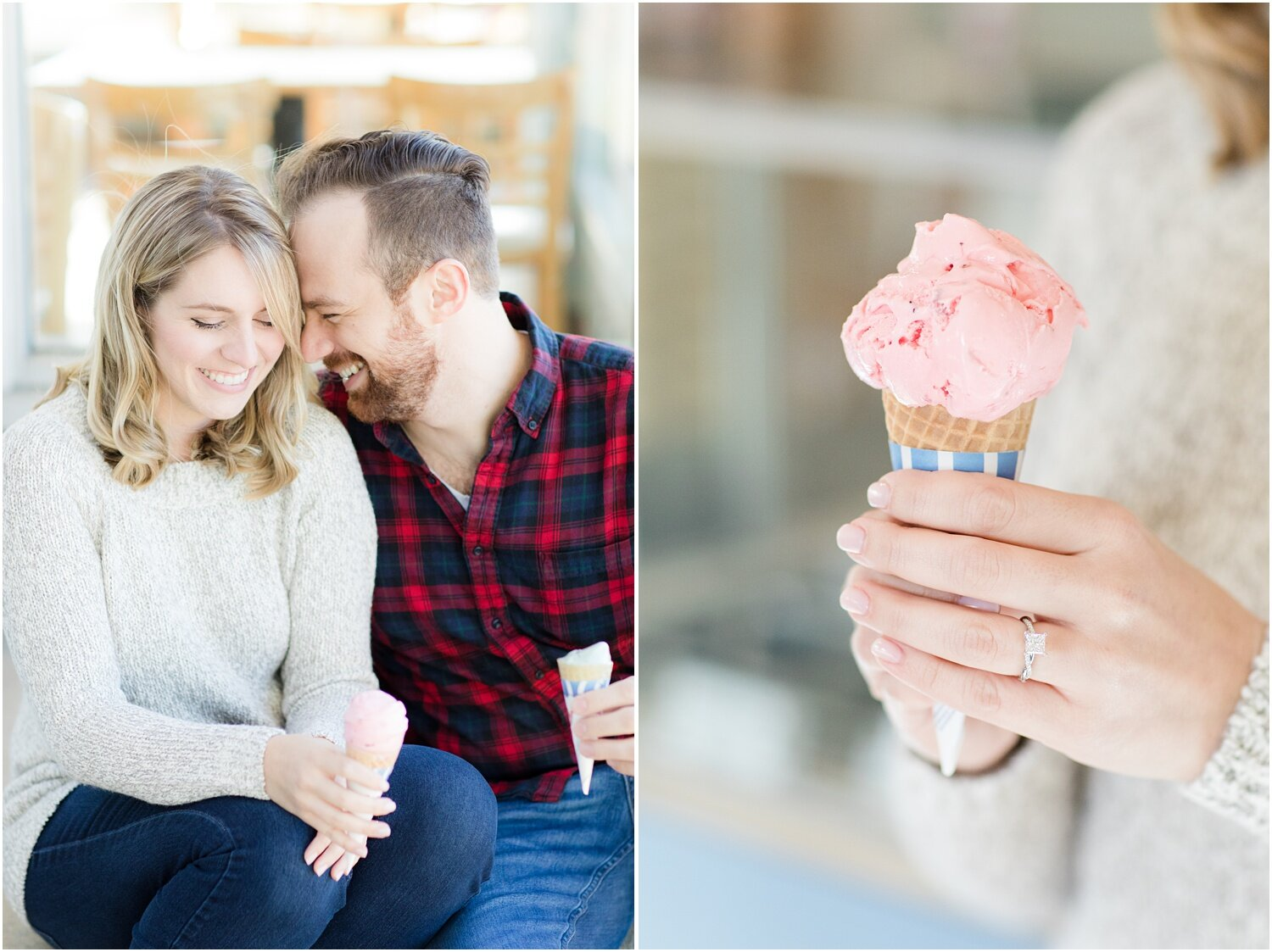Engagement photos with ice cream cones at Hoffman's in Spring Lake, NJ.