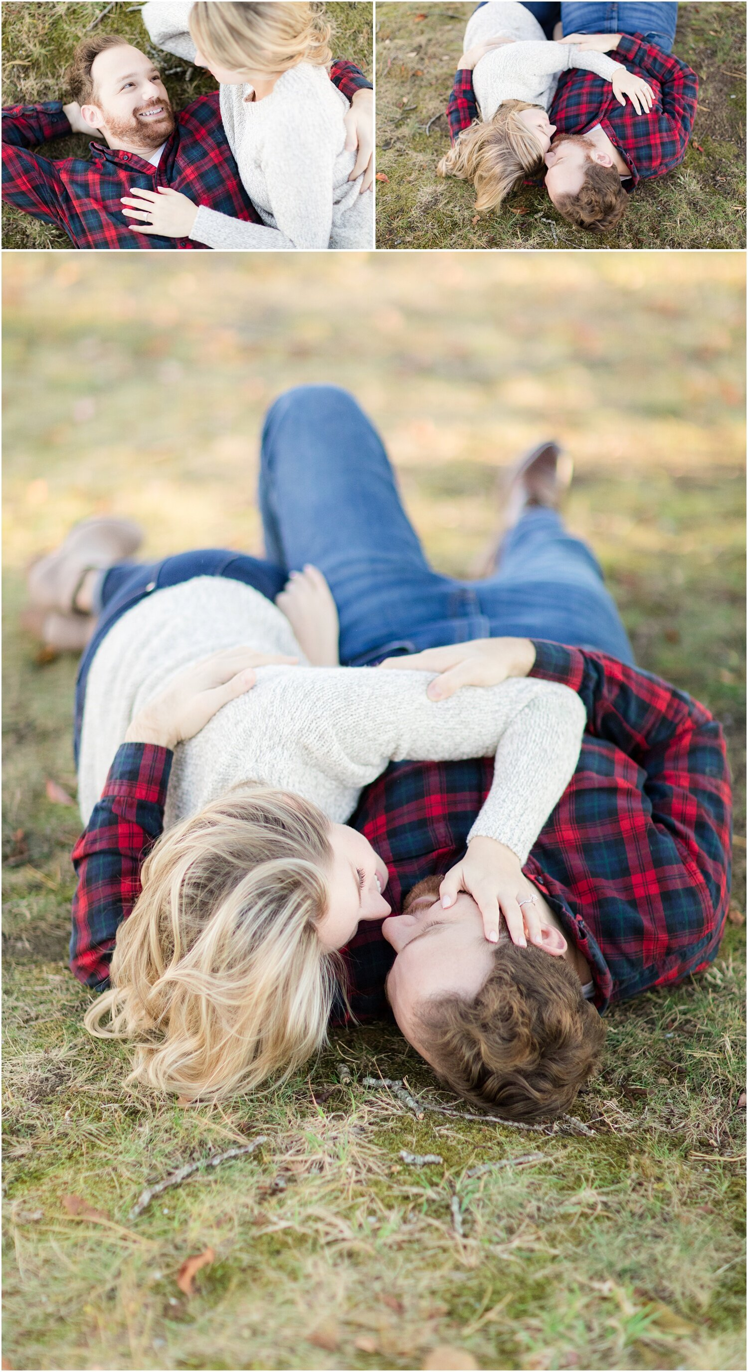 cute engagement photos of couple snuggling in Spring Lake, NJ.