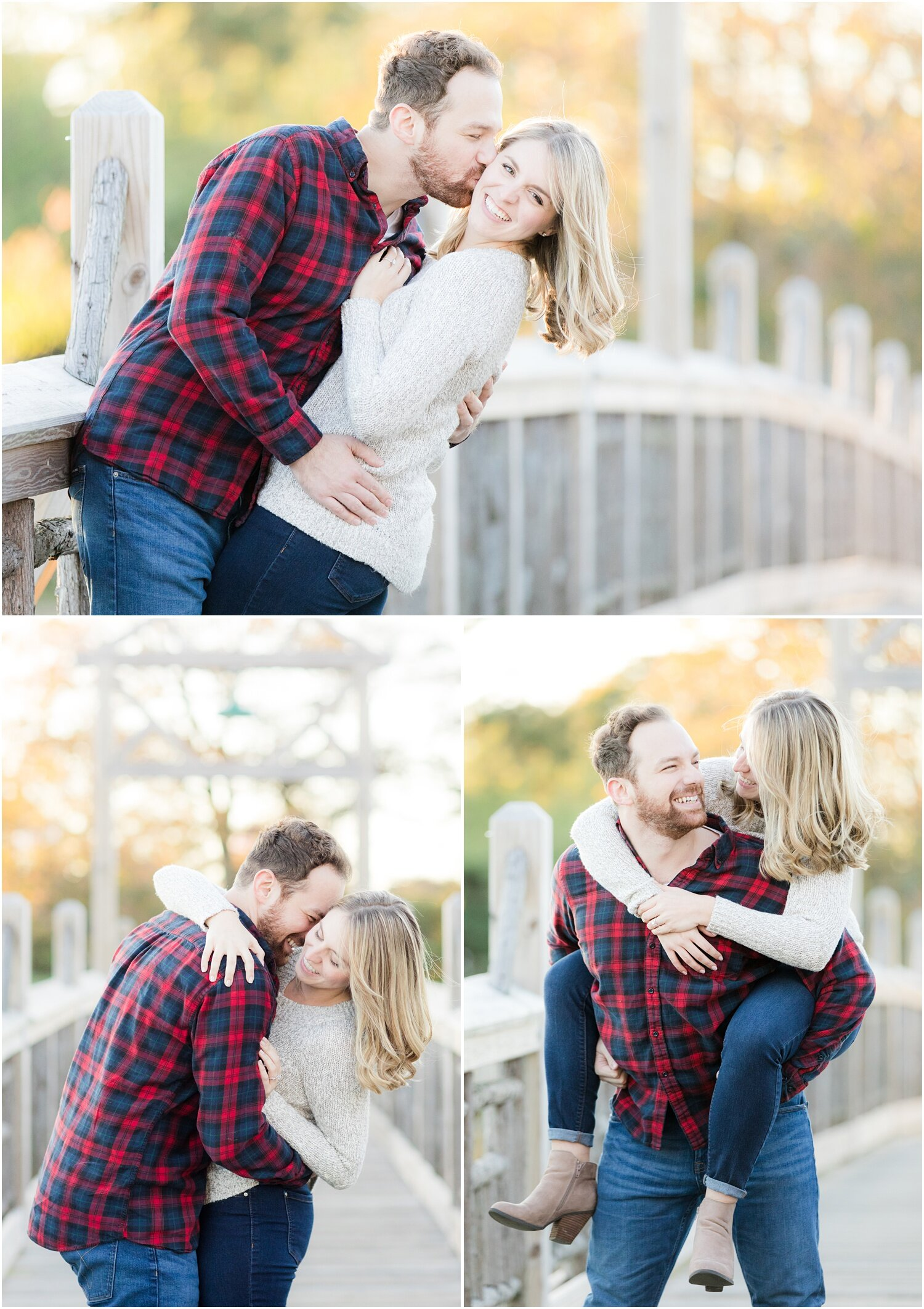 Fun engagement photos on the bridge in spring lake, NJ.