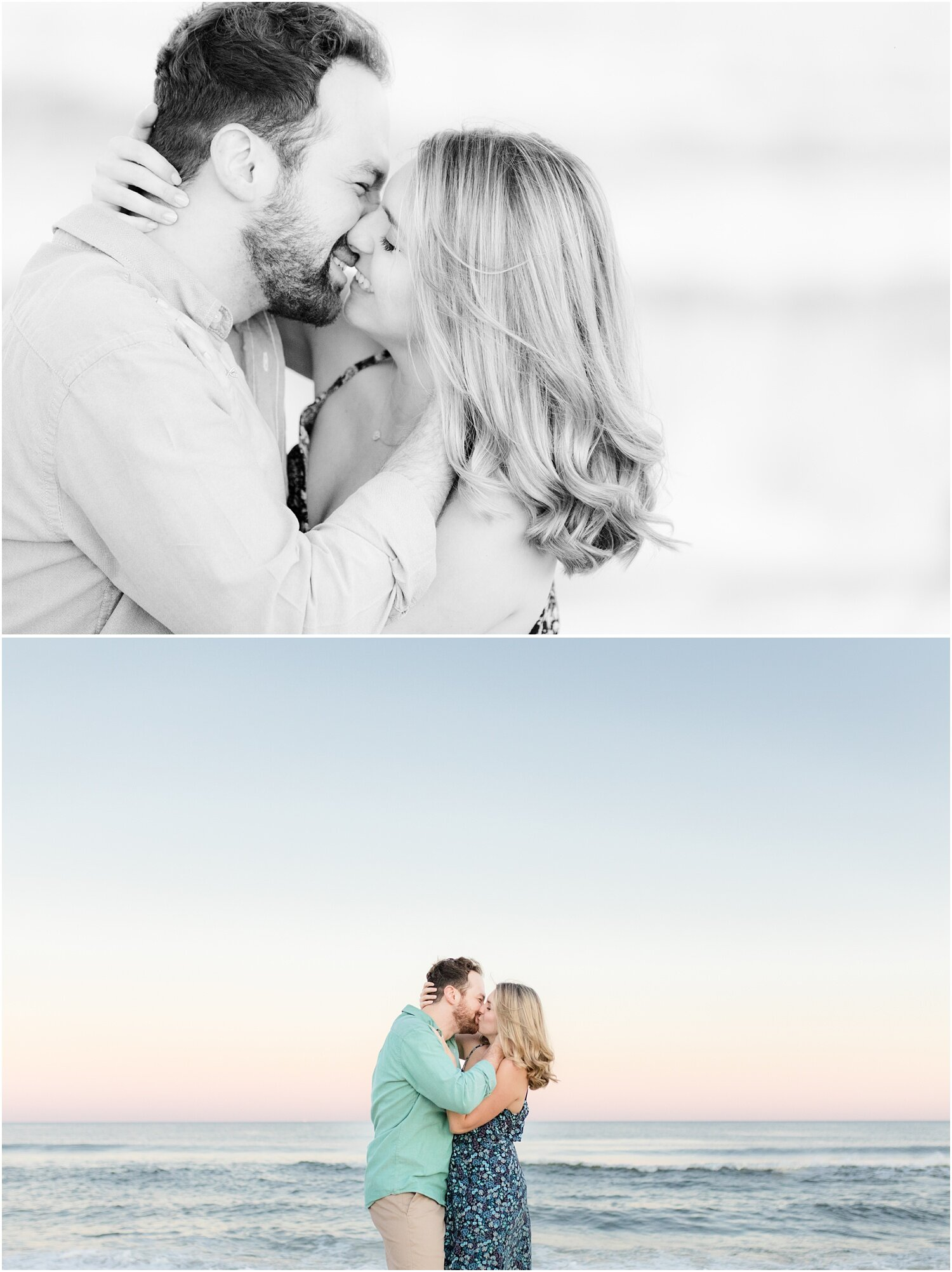 Romantic engagement photos on the beach in Spring Lake.