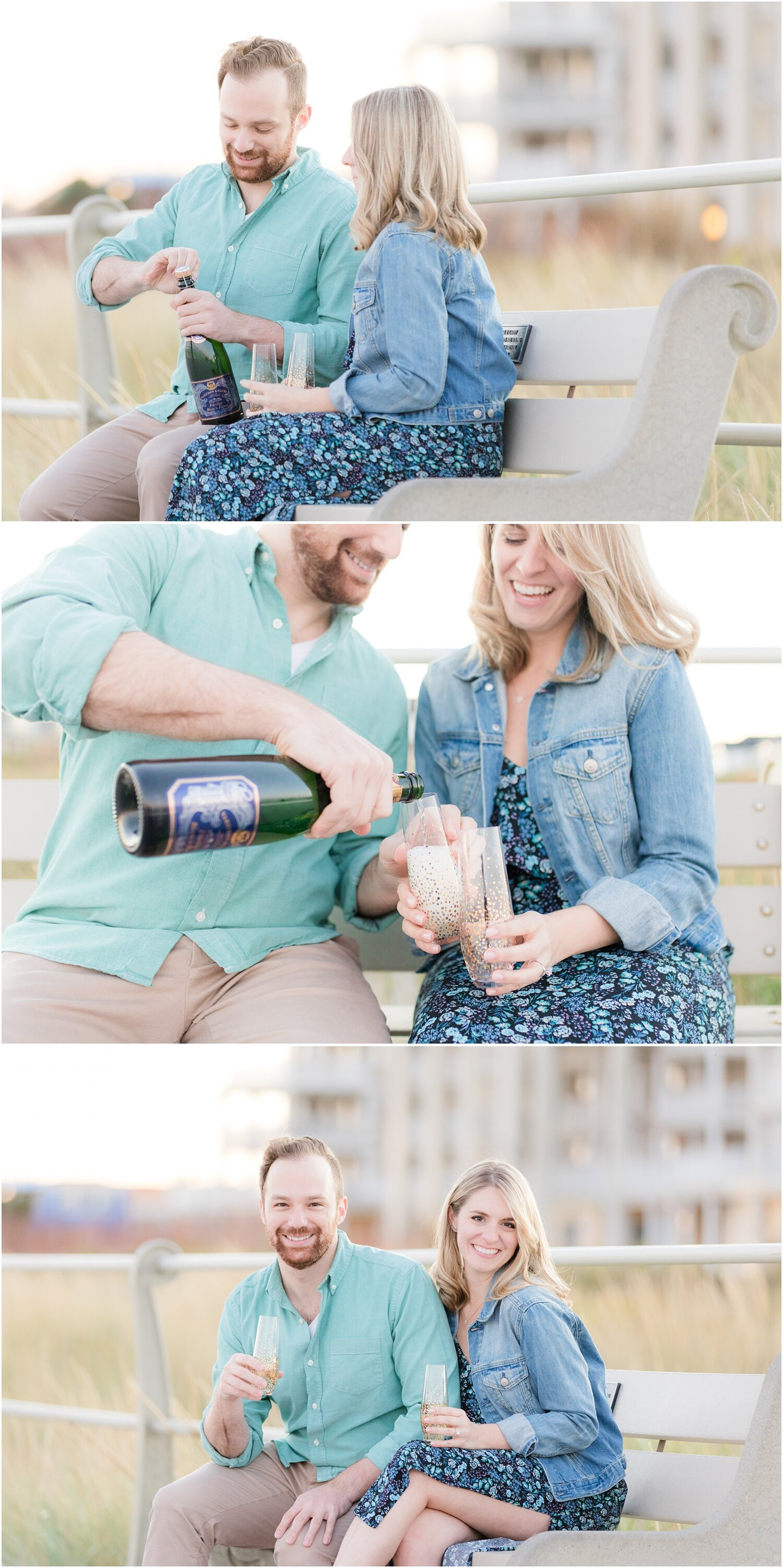 Champagne engagement photos on the boardwalk in Spring Lake.