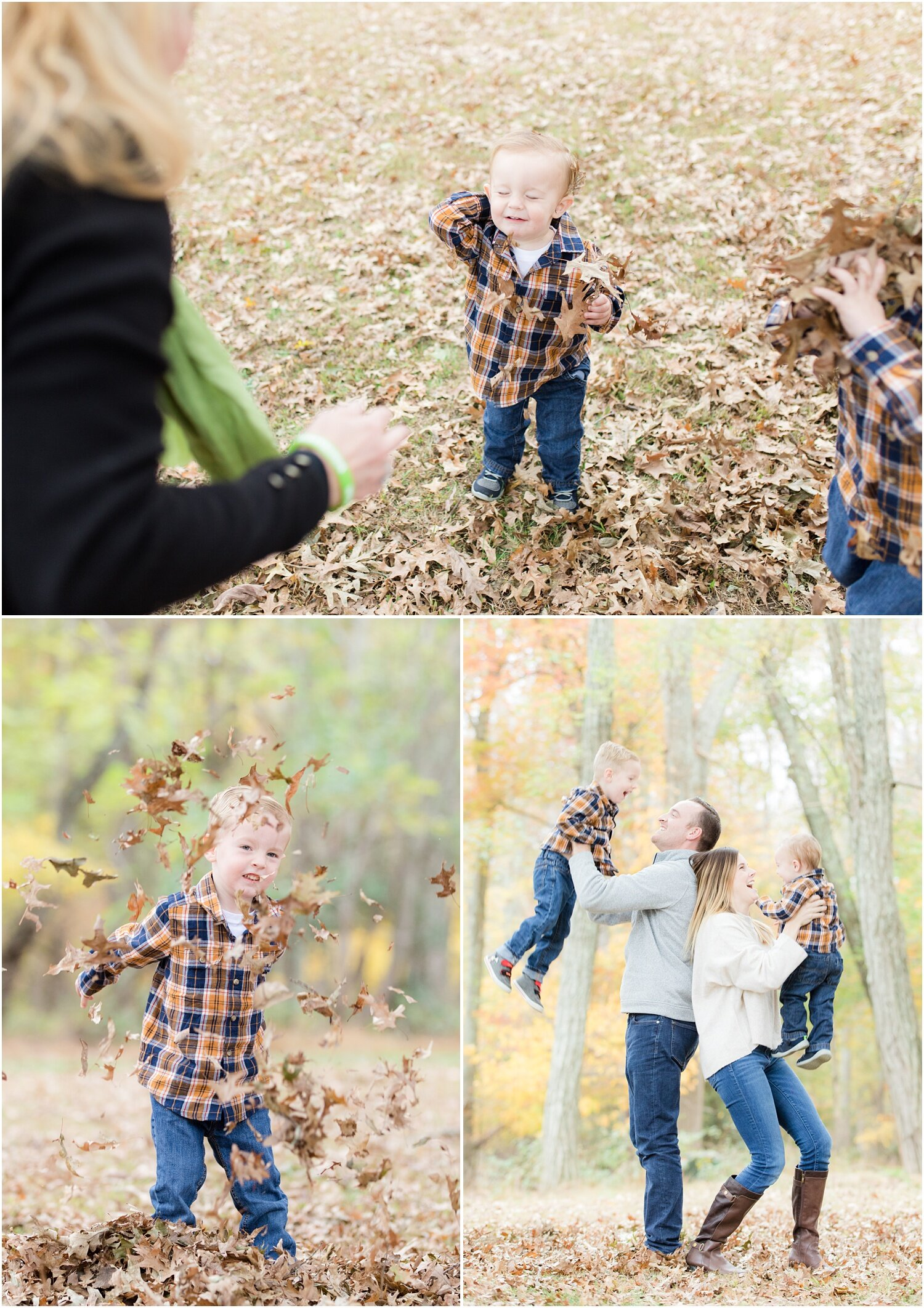 Fun family photos in the Fall at Allaire State Park.