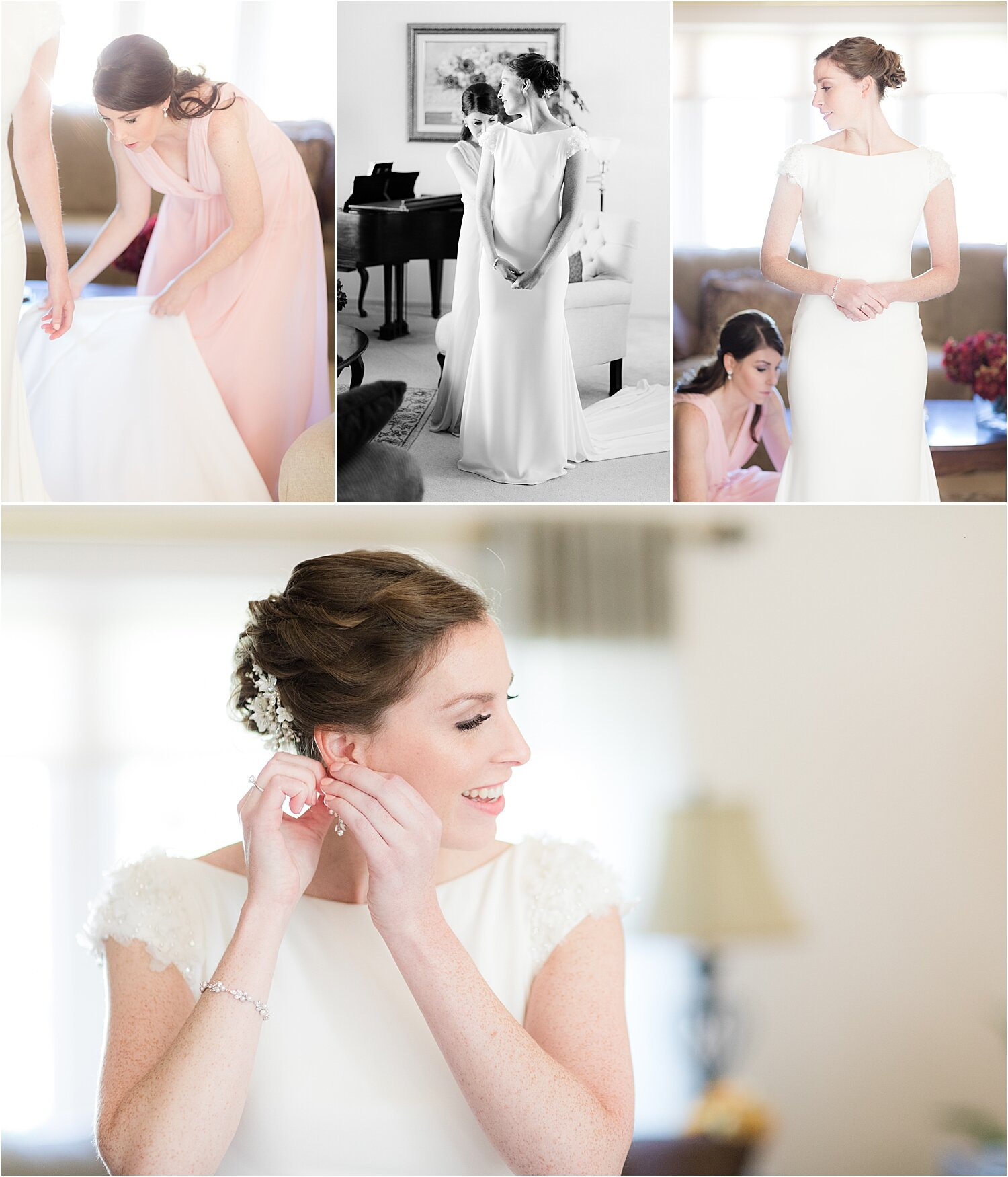 bride gets dressed for oyster point wedding in red bank nj