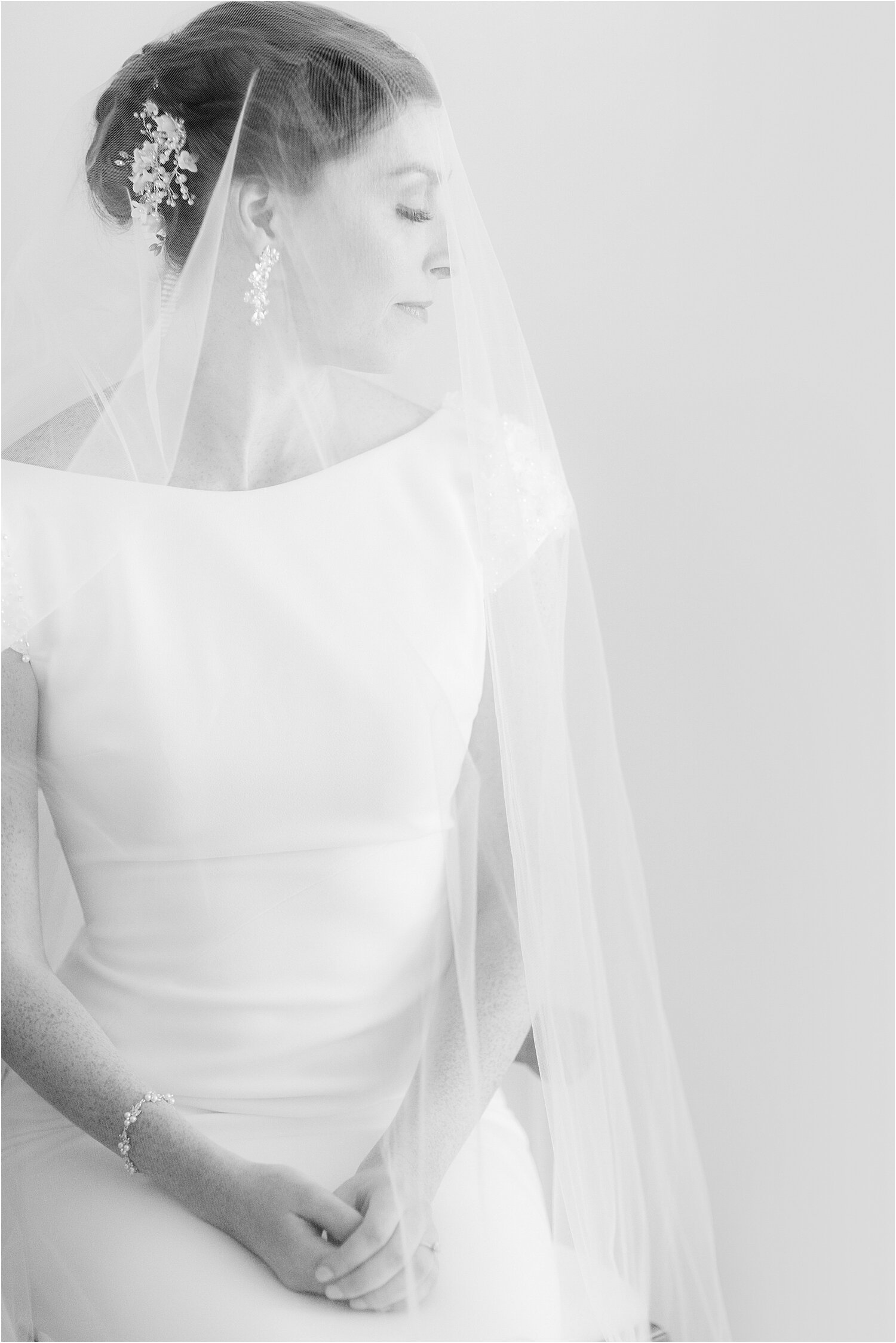 classic bridal portrait in black and white