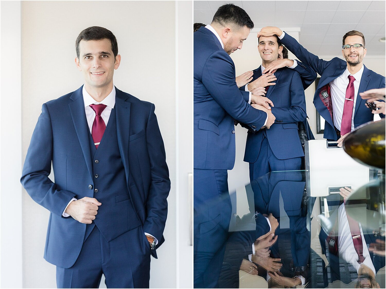 groomsmen get ready in bridal suite at oyster point hotel
