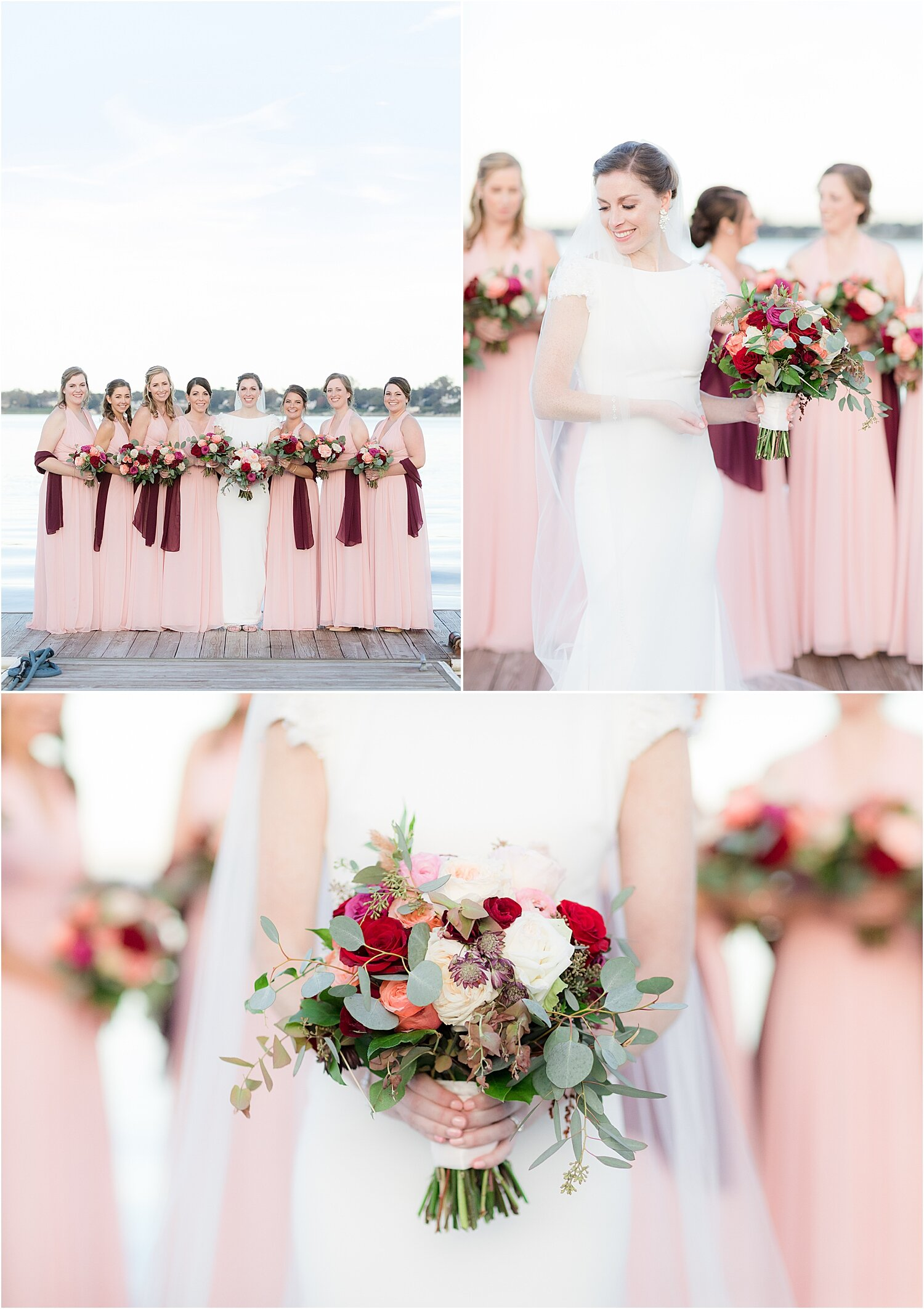 bride and bridesmaids photos at oyster point hotel in red bank