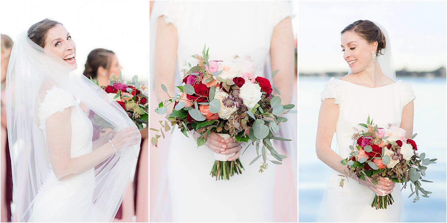 fall wedding bouquet at oyster point marina