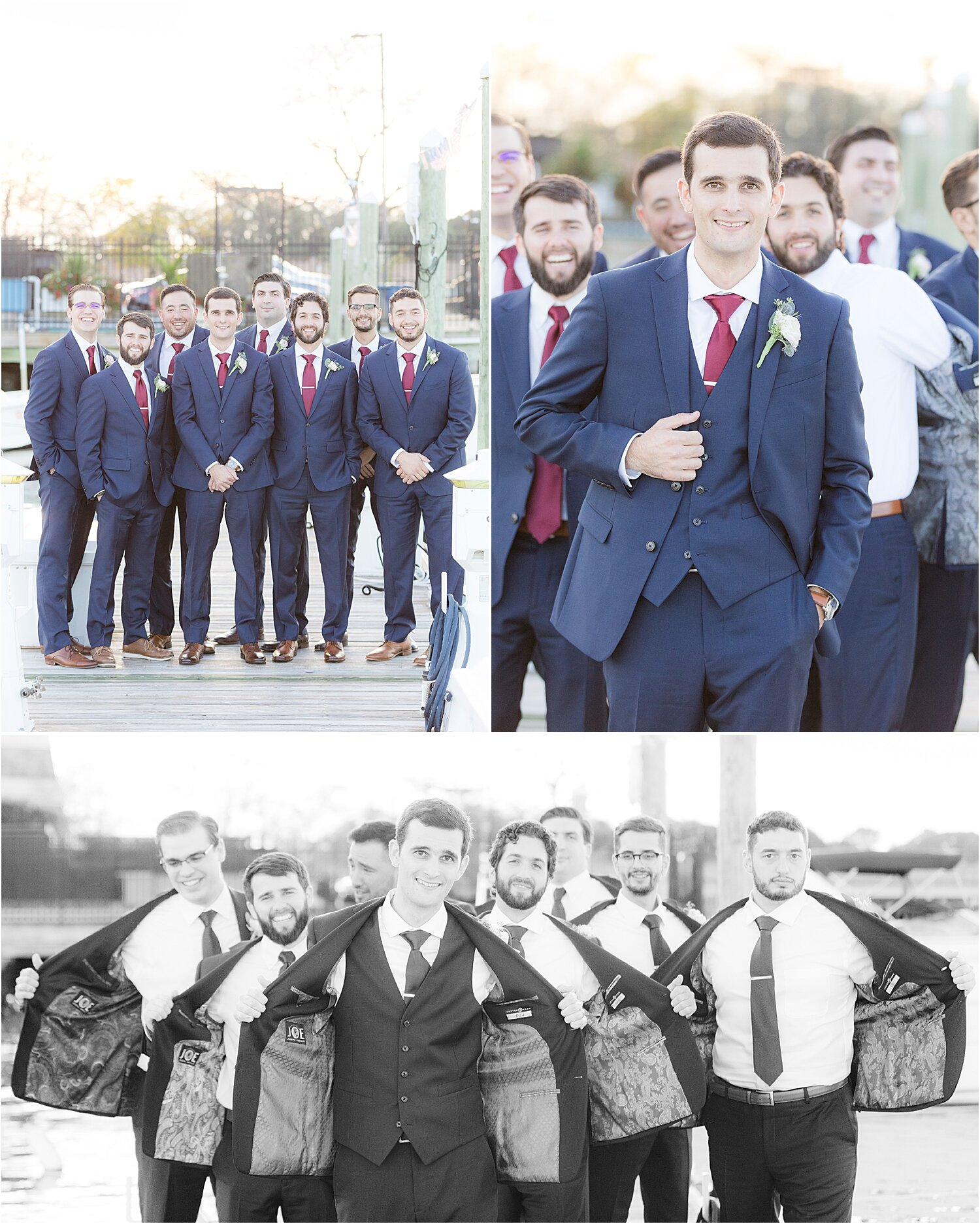 fun groomsmen portraits at oyster point hotel