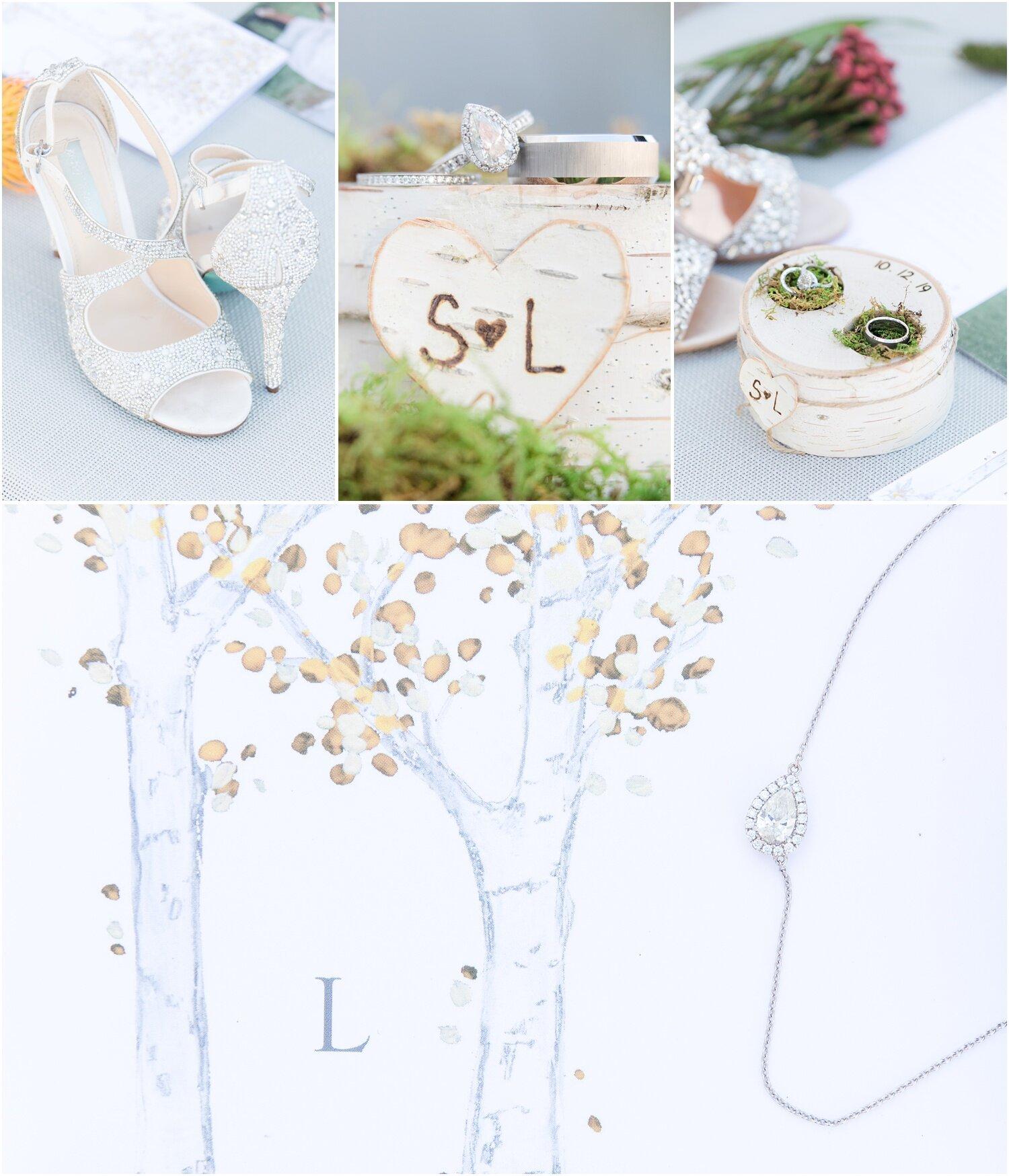 Custom Birch ring box an trifold wedding invitation.