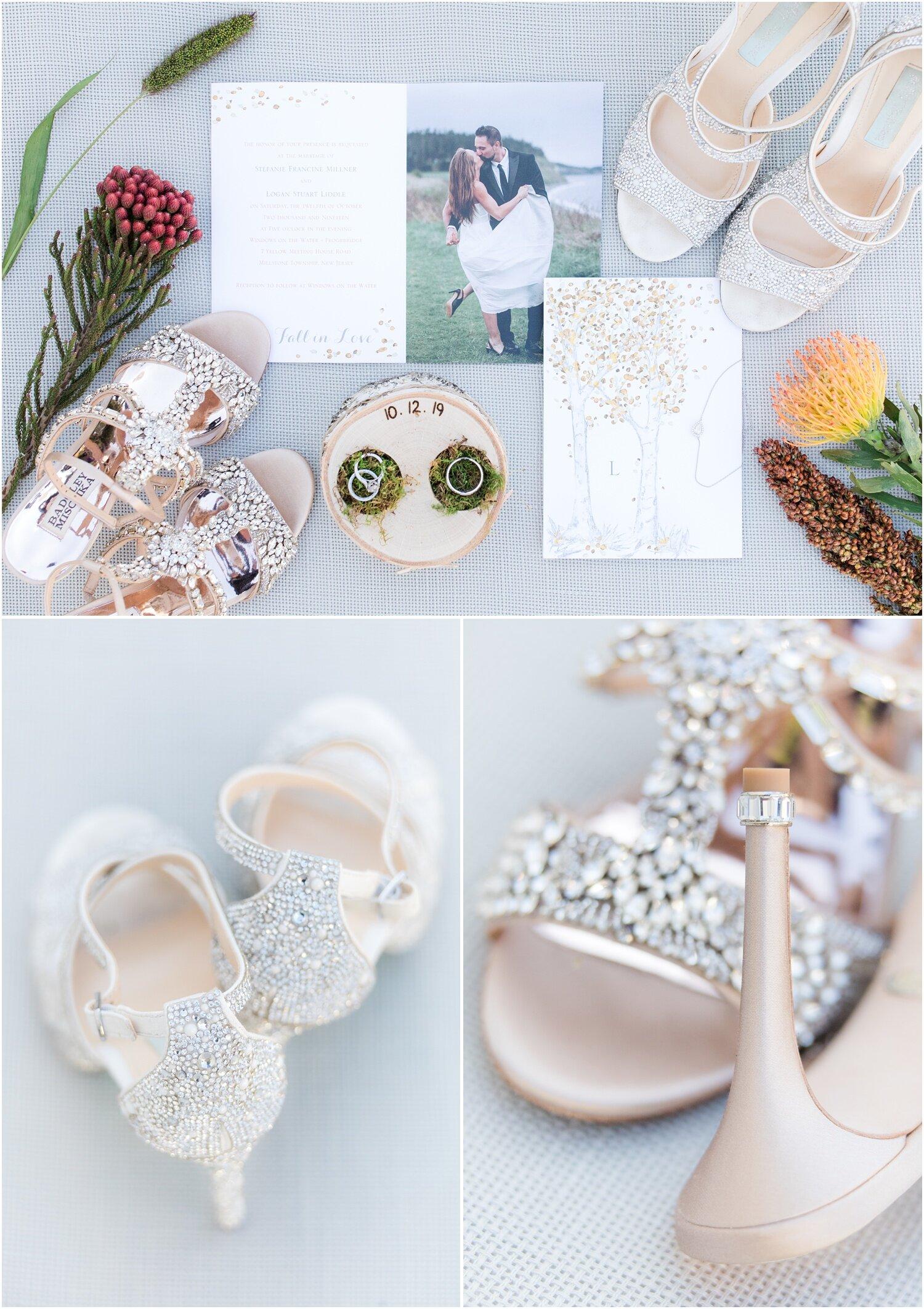 Custom Birch ring box an trifold wedding invitation and rhinestone wedding shoes