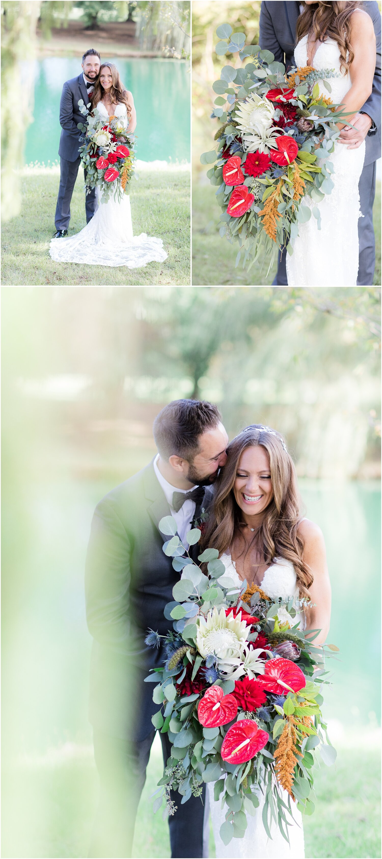 Romantic lakeside wedding photos at Windows on the Water at Frogbridge.