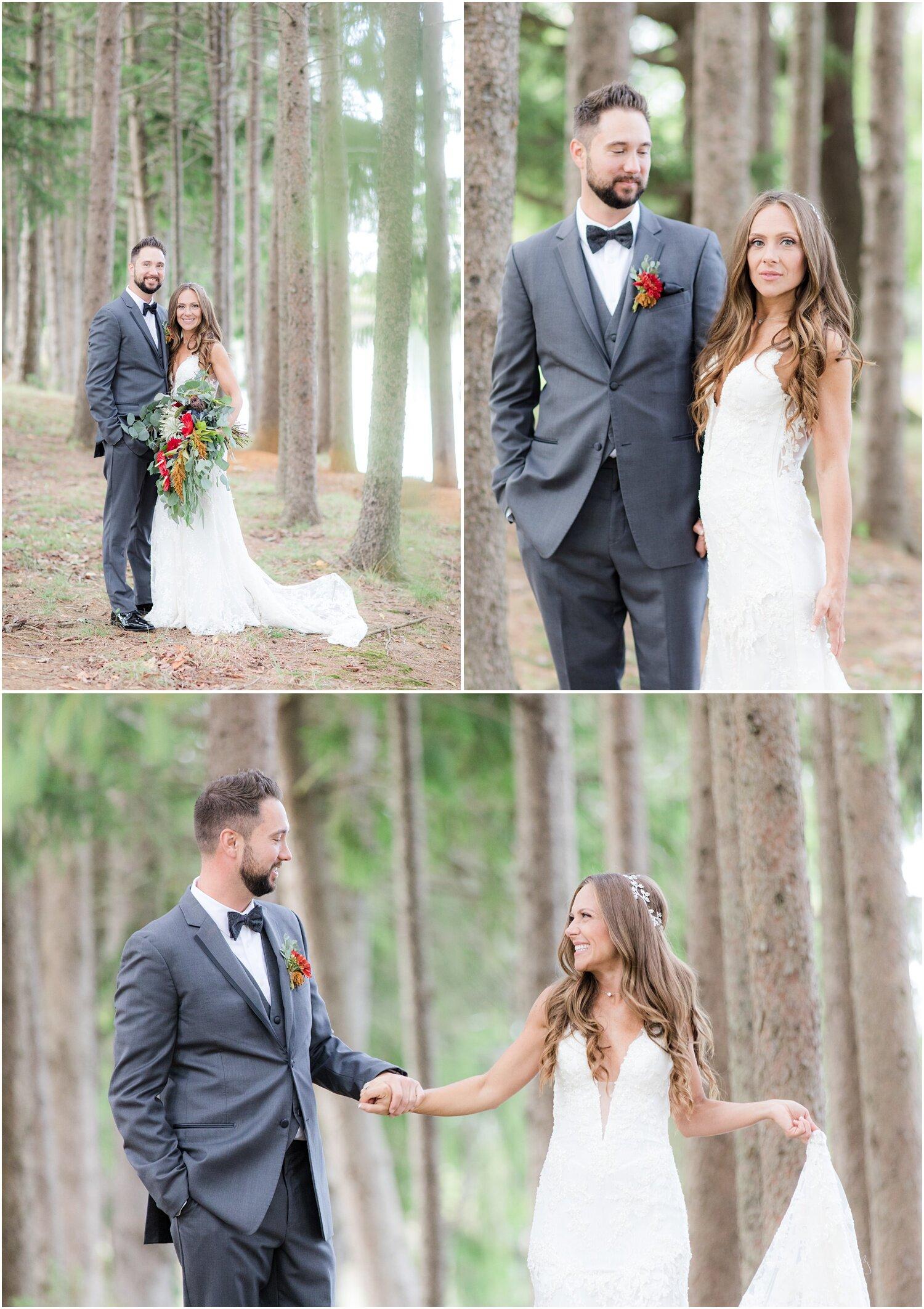Romantic wedding photos in the forrest at rustic nj wedding venue