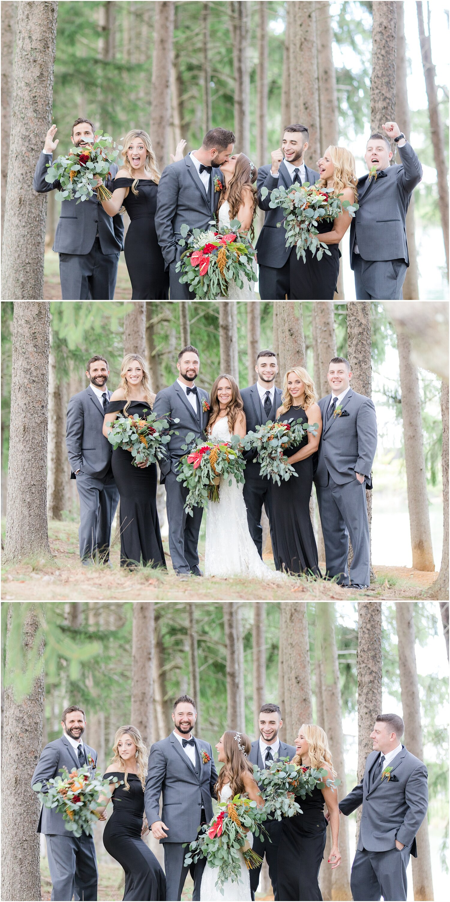 Fun bridal party photos in a forrest setting in Millstone NJ.