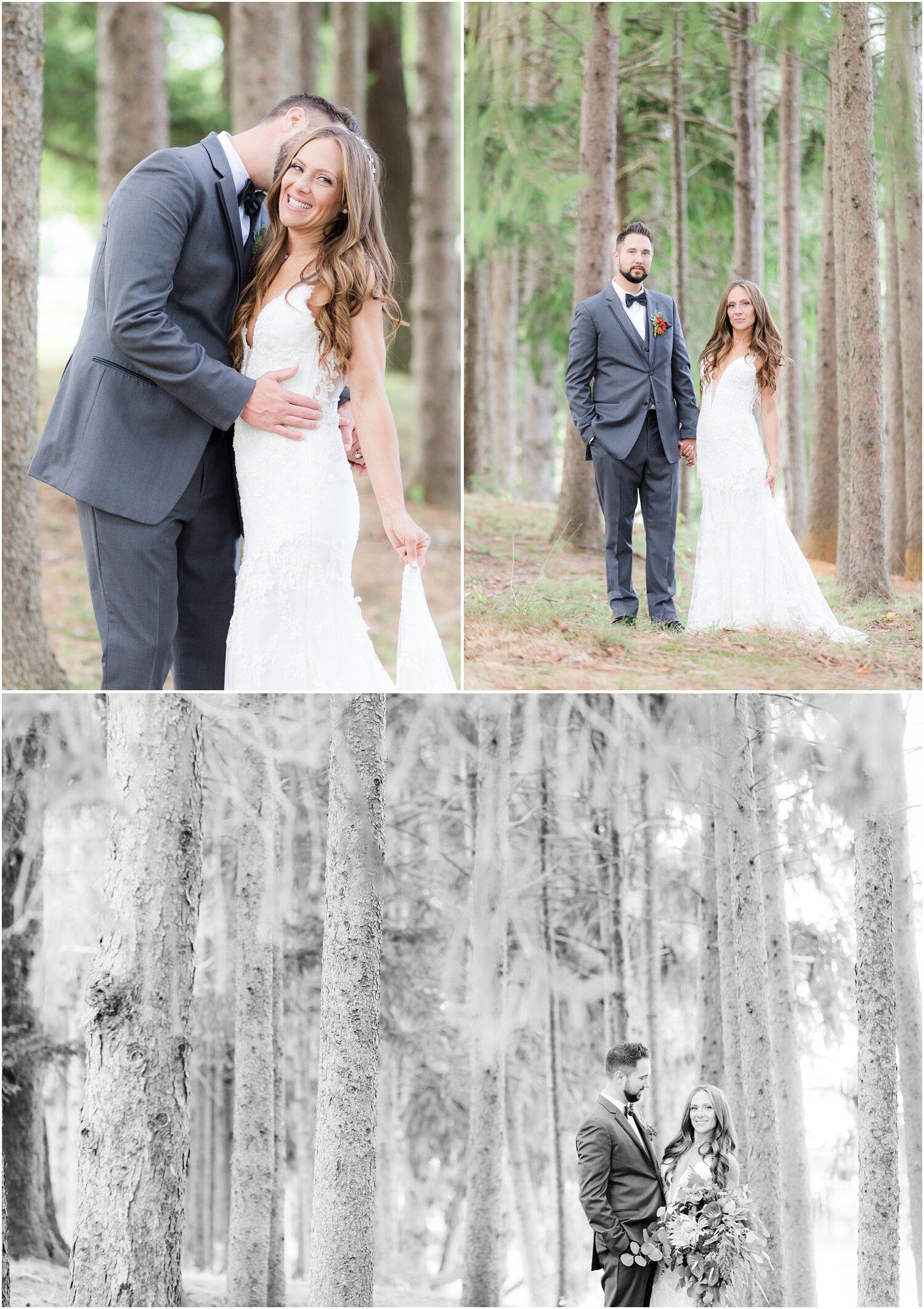Wedding photos in the forrest at Windows on the Water at Frogbridge.