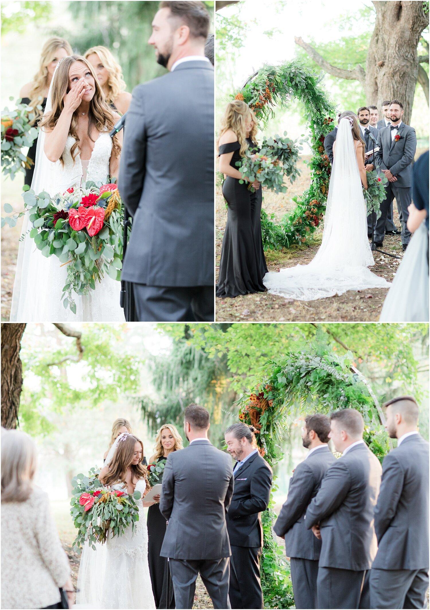 whimsical outdoor wedding ceremony in Millstone, NJ.