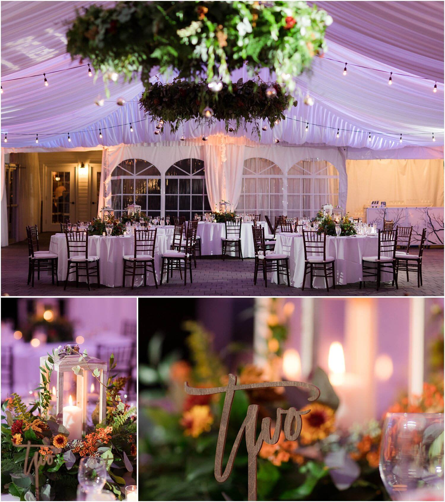Reception space at windows on the water frogbridge with florals by bespoke florals inc.