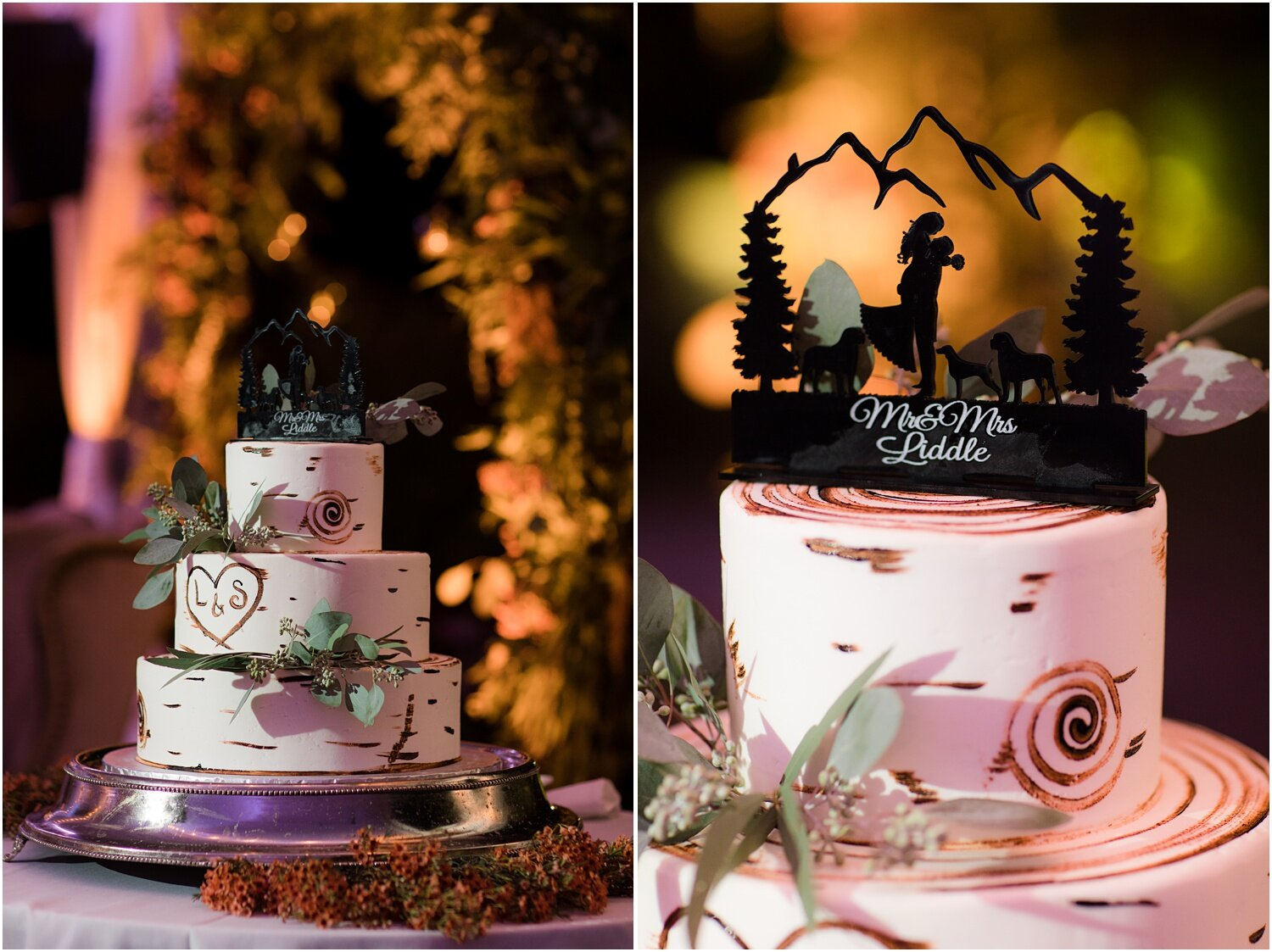 Birch wedding cake with silhouette cake topper