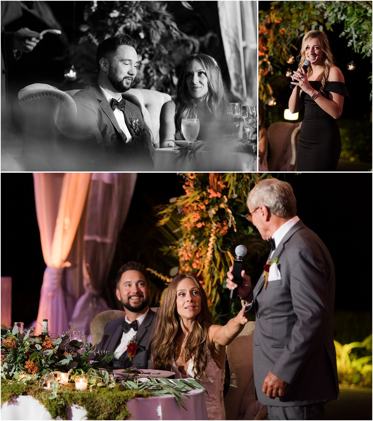 best man and maid of honor speeches at tented reception at windows on the water frogbridge.