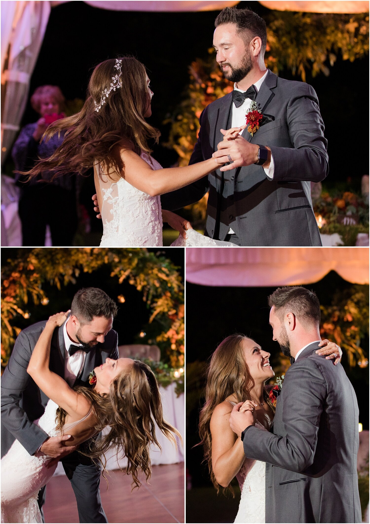 First dance at tented reception at windows on the water frogbridge.