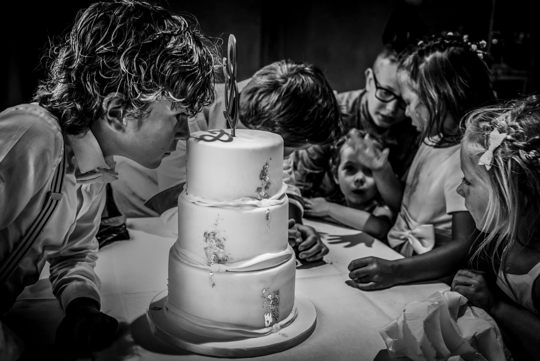 De bruidstaart, bij het Hooihuis in Roosendaal hoe zou hij smaken in West Brabant door Caroline bruidsfotograaf bij Cfoto