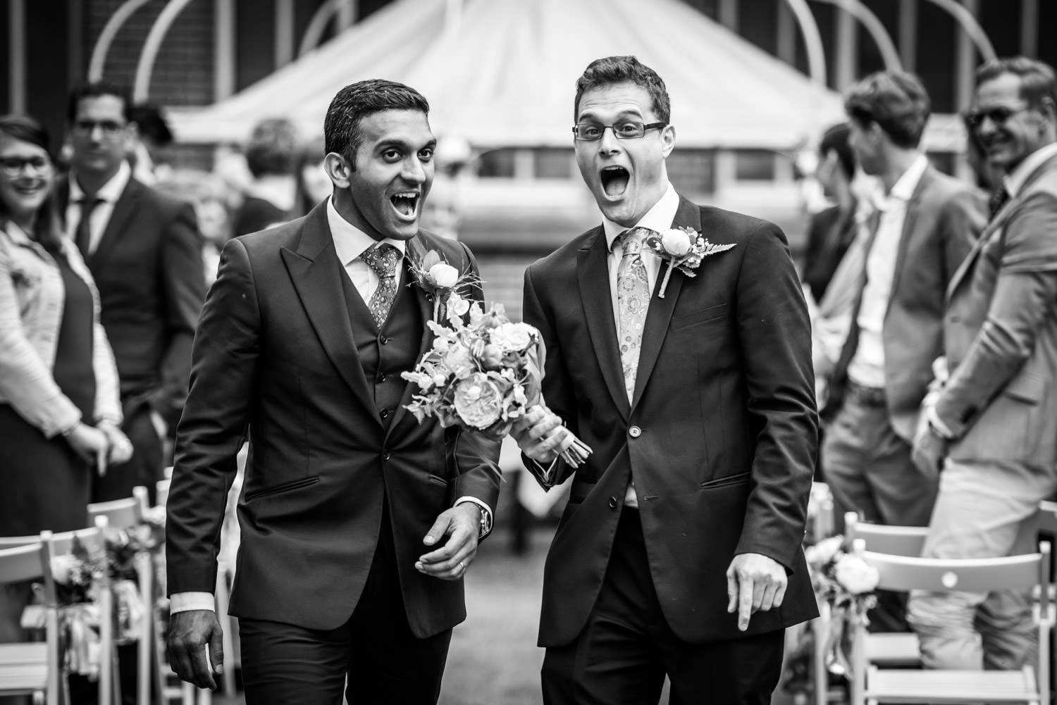 crazy best men during the end of the wedding