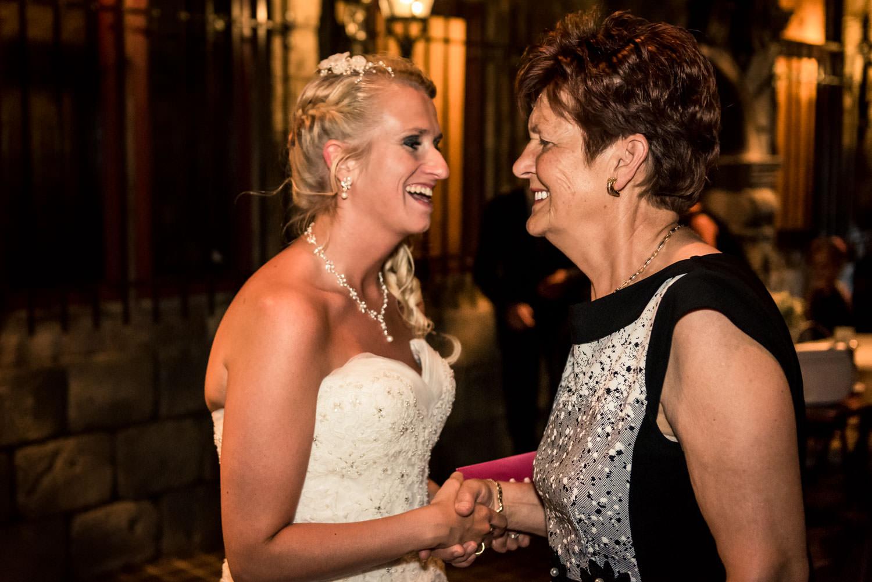 felicitaties van oma aan de bruid, gemaakt bij het trefpunt in R