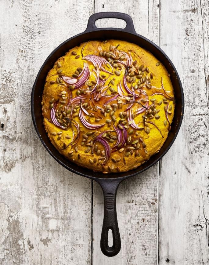 Recipe:  https://www.goodhousekeeping.com/food-recipes/a46041/double-pumpkin-cornbread-with-red-onion-recipe/