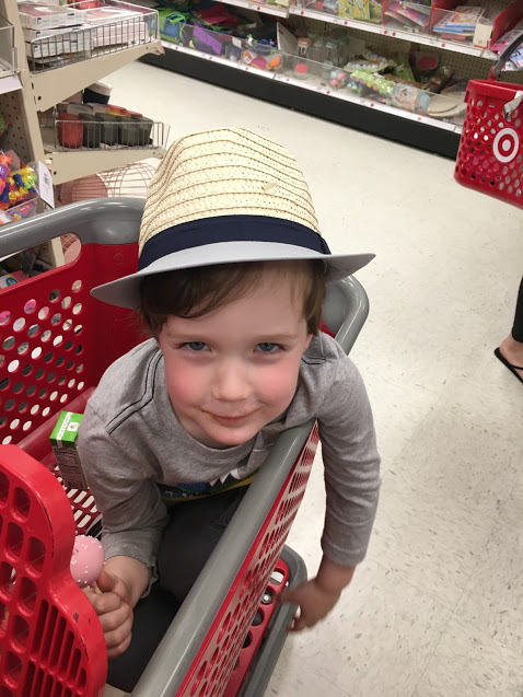 B in Target cart with hat.JPG