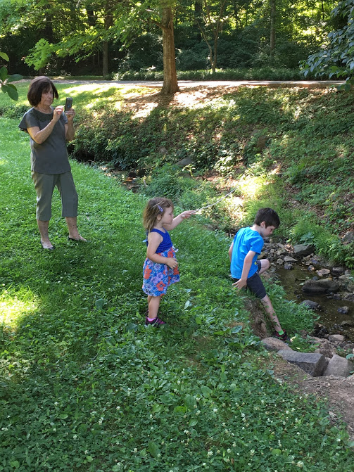 O and J with Betsy by creek.JPG