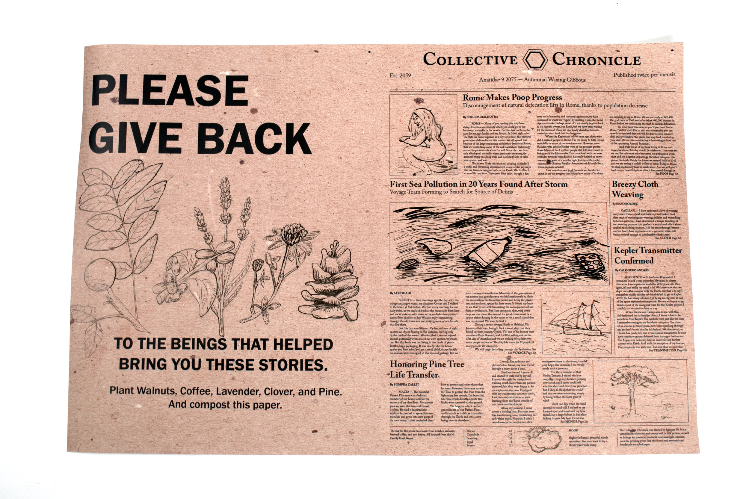Speculative future newspaper